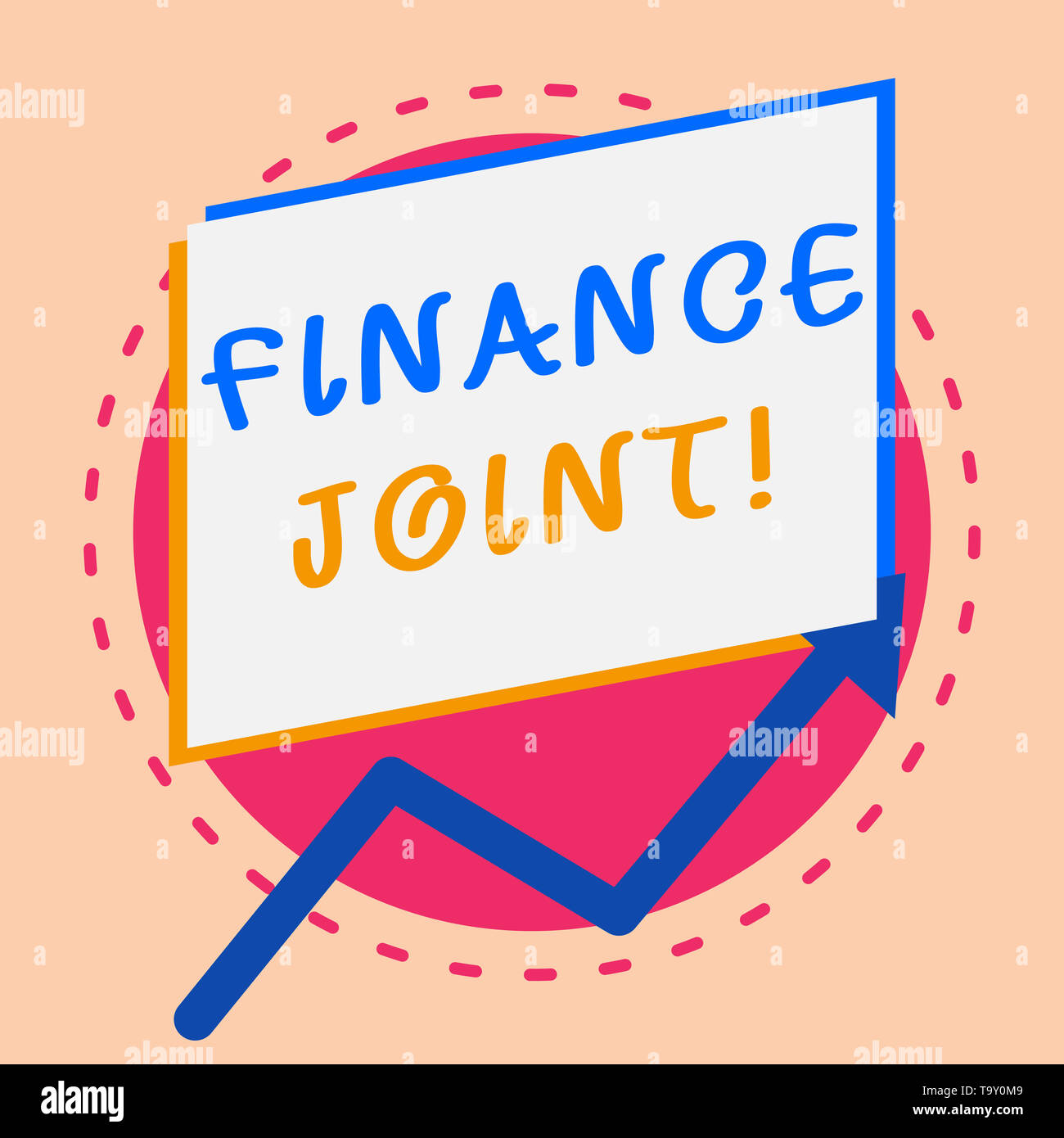 Text sign showing Finance Joint. Business photo showcasing provision of funds for a project came from two or more sources Irregular edging arrow line  - Stock Image