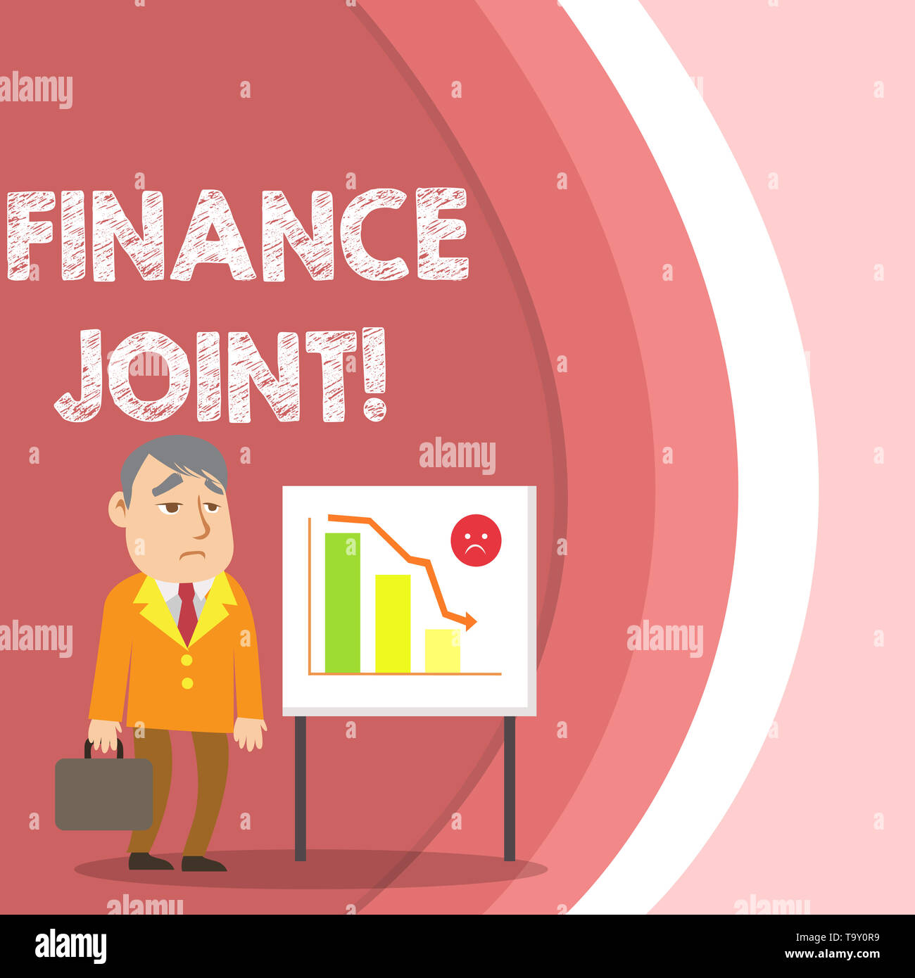 Conceptual hand writing showing Finance Joint. Concept meaning provision of funds for a project came from two or more sources Businessman with Brief C - Stock Image