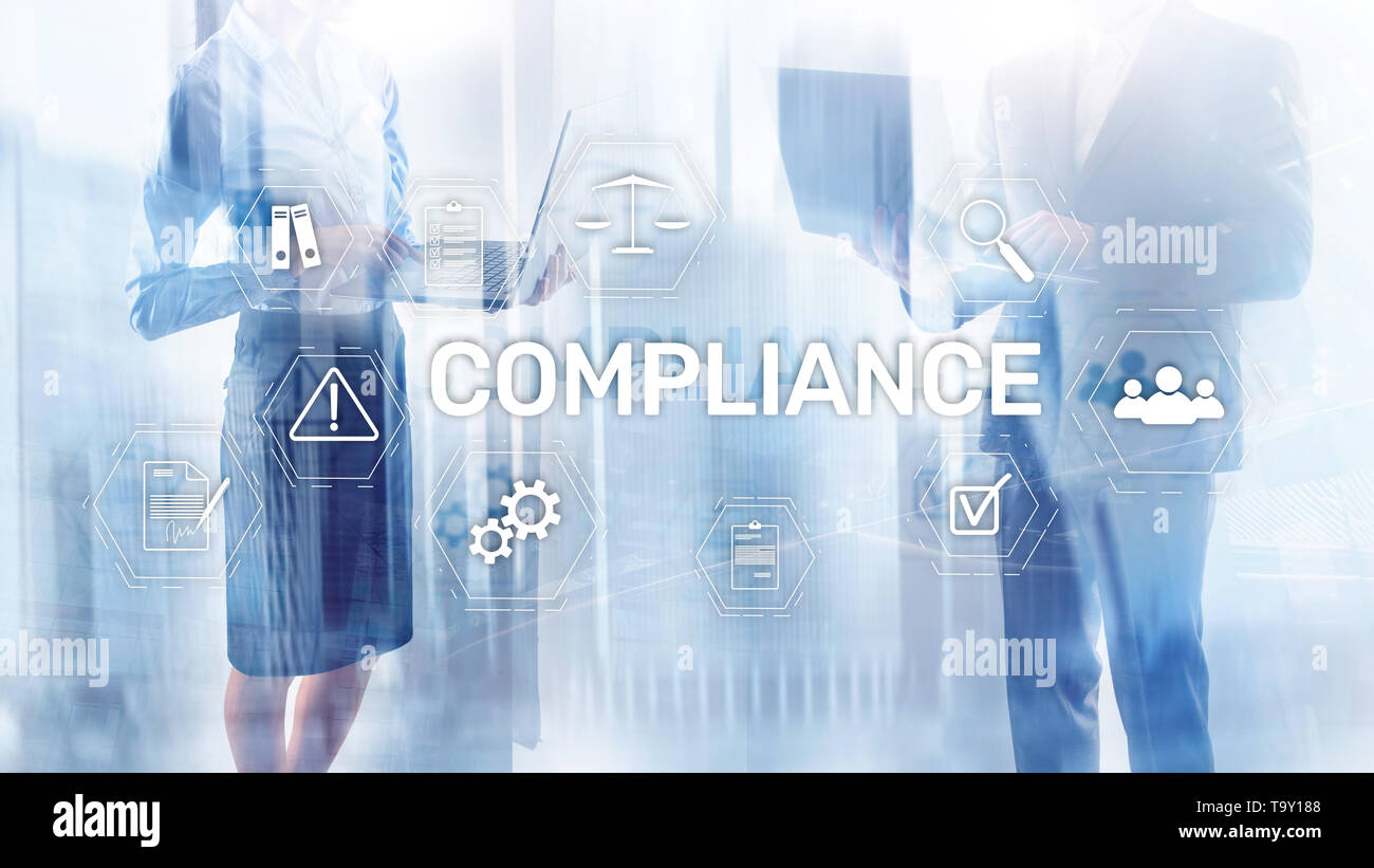 Compliance diagram with icons. Business concept on abstract background Stock Photo