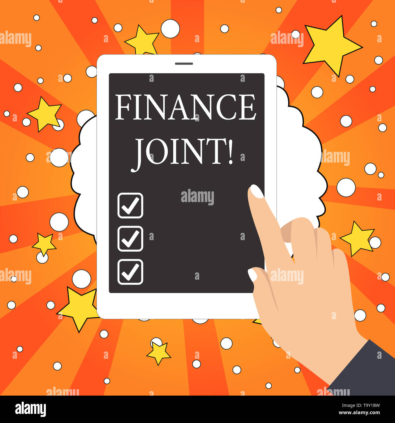 Conceptual hand writing showing Finance Joint. Concept meaning provision of funds for a project came from two or more sources Female Hand with Polishe - Stock Image