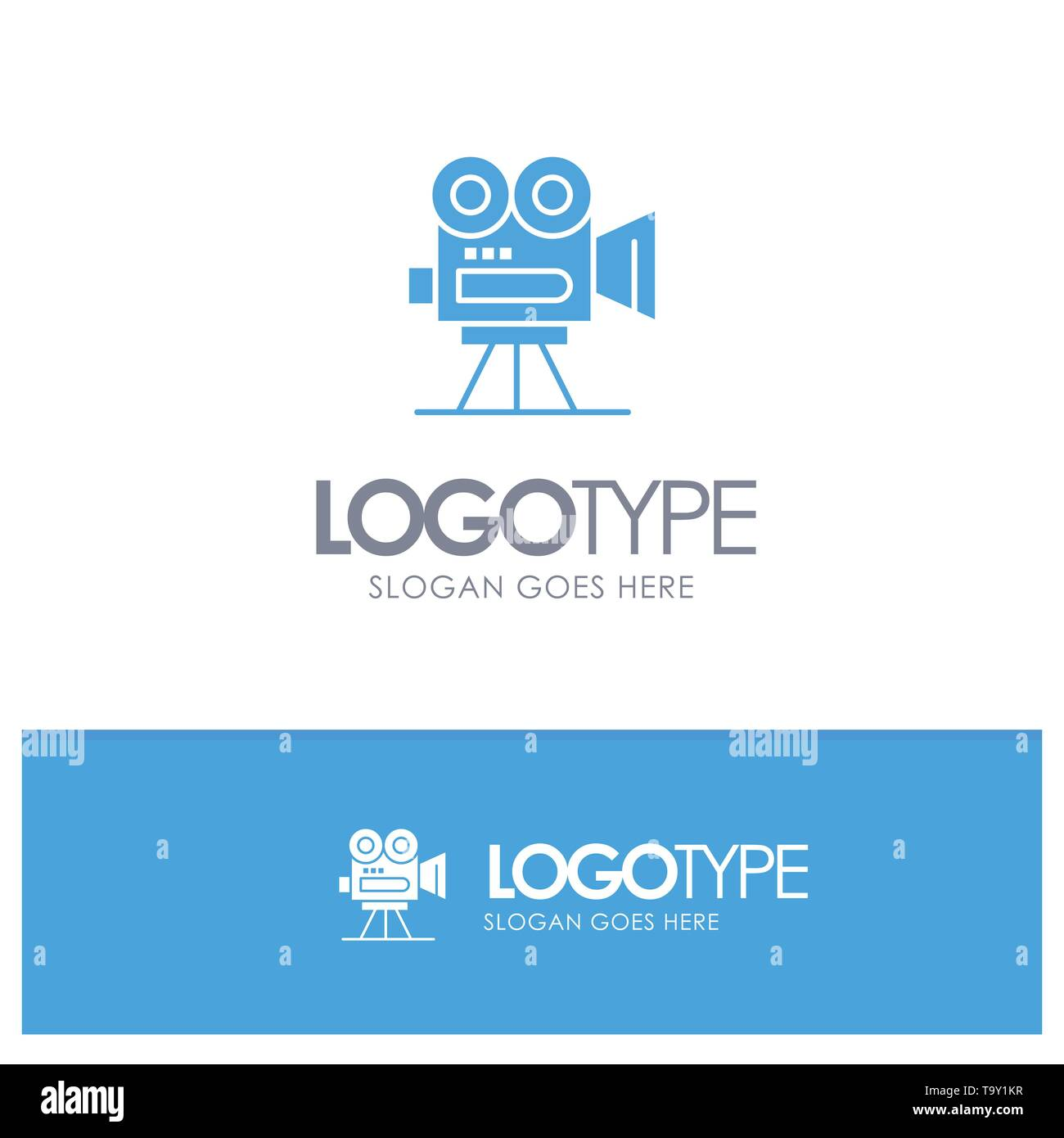 Camera, Capture, Film, Movie, Professional Blue Solid Logo with place for tagline - Stock Vector