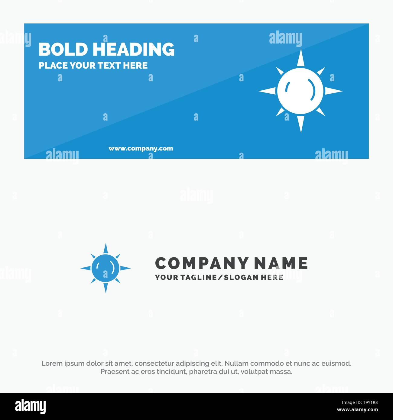 Sun, Day, Light SOlid Icon Website Banner and Business Logo Template - Stock Image