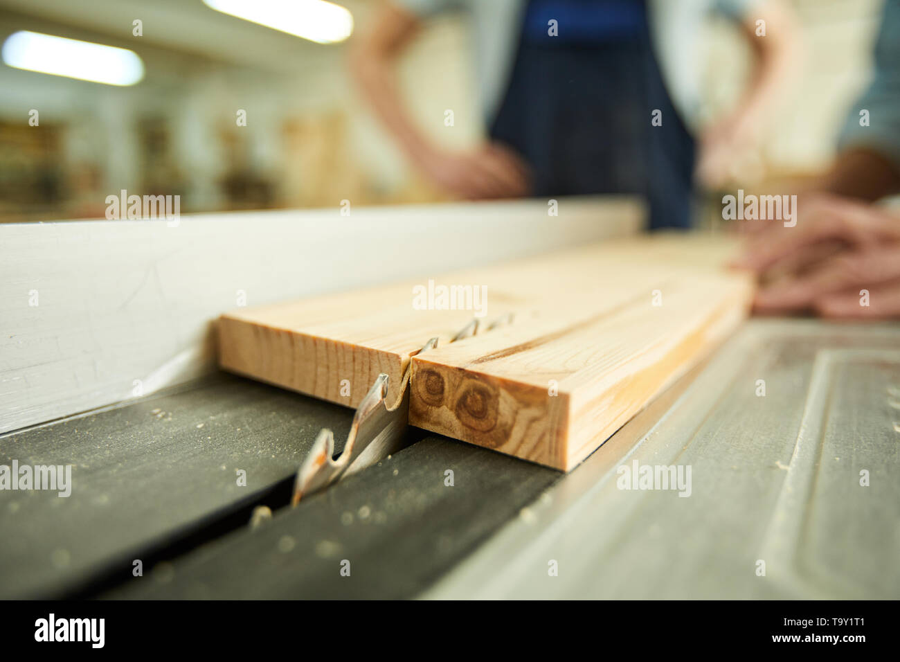 Closeup of unrecognizable carpenter cutting wood using disksaw in joinery workshop, copy space - Stock Image