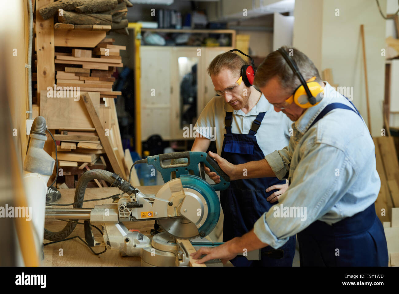 Side view portrait of  carpenter cutting wood using disksaw while working in joinery workshop, copy space - Stock Image