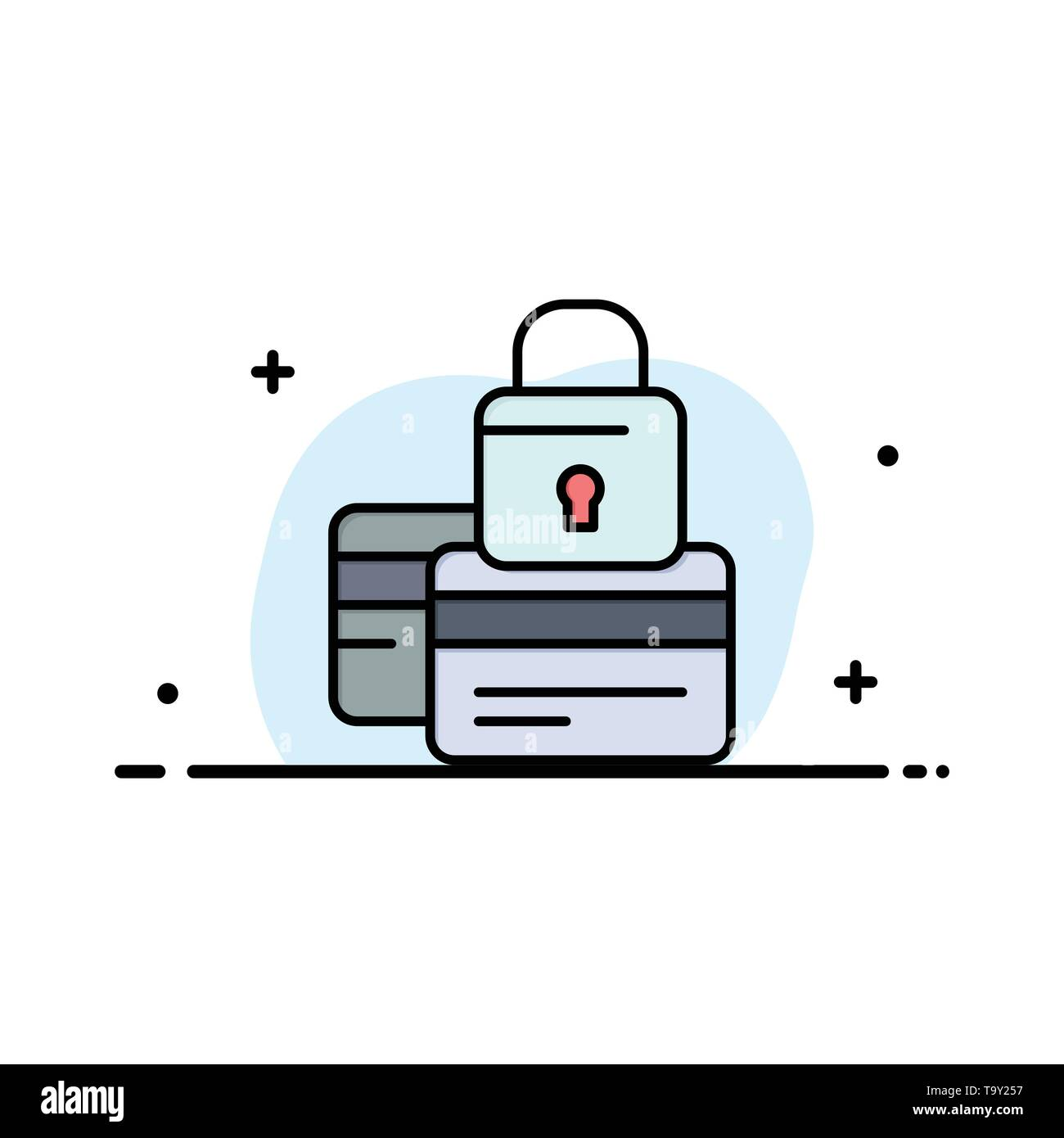 Banking, Card, Credit, Payment, Secure, Security Business Logo Template. Flat Color - Stock Image