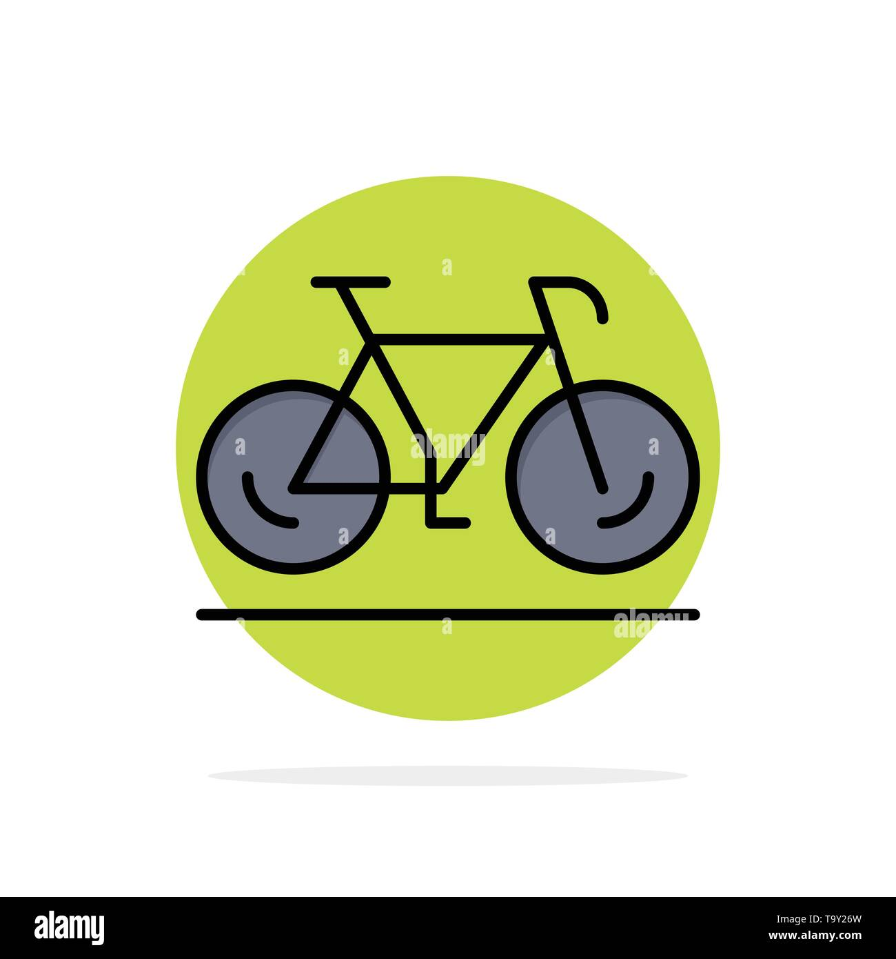 Bicycle, Movement, Walk, Sport Abstract Circle Background Flat color Icon - Stock Image