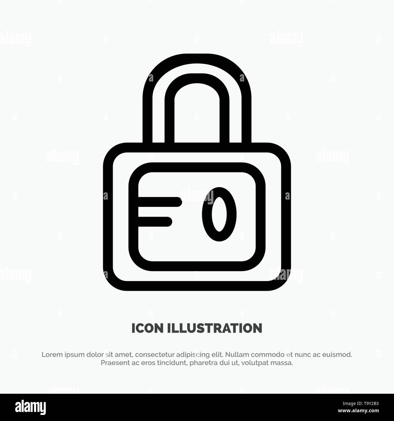 Lock, School, Study Line Icon Vector - Stock Image
