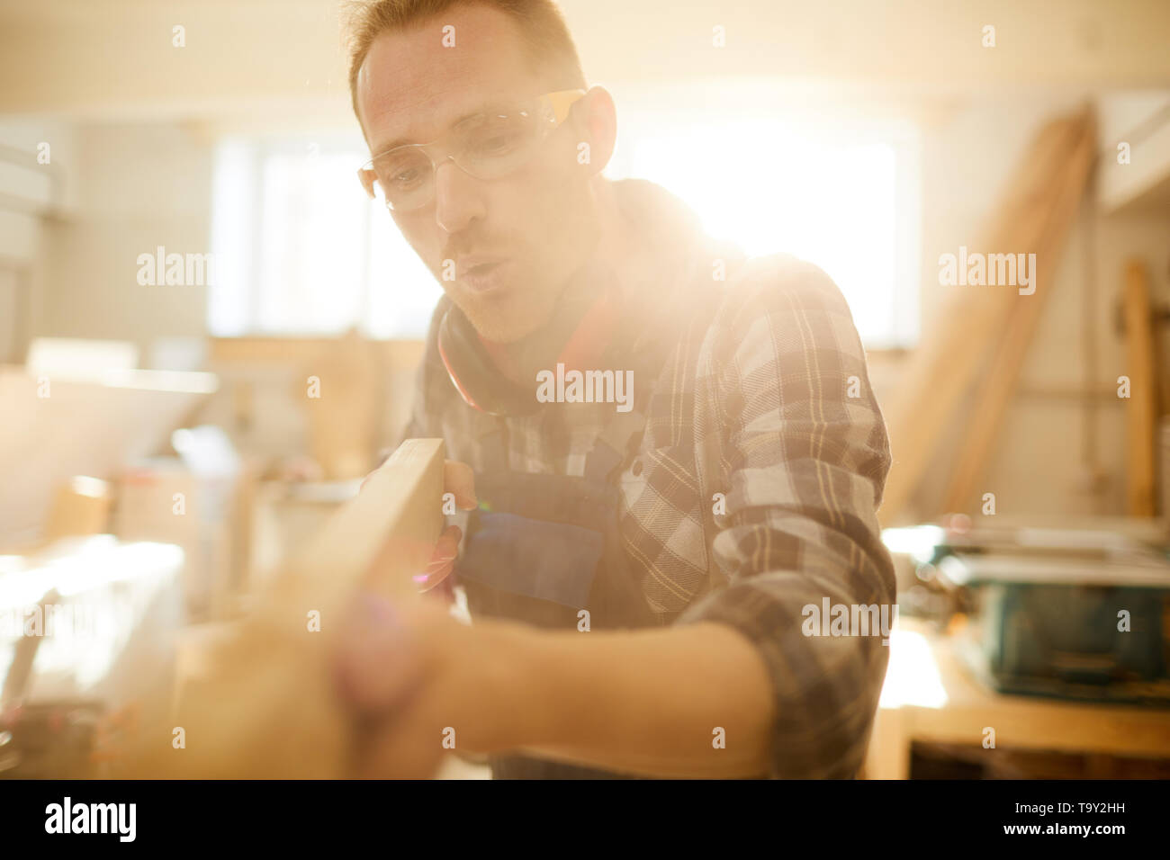 Waist up portrait of skilled modern carpenter working in sunlight, copy space - Stock Image