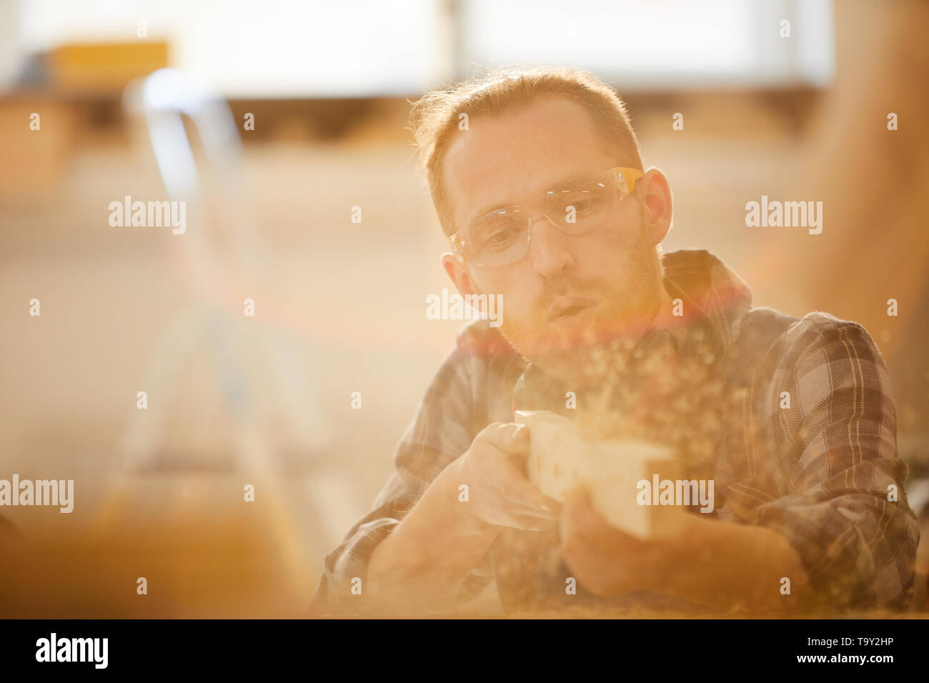 Portrait of skilled contemporary carpenter working in sunlight, copy space - Stock Image