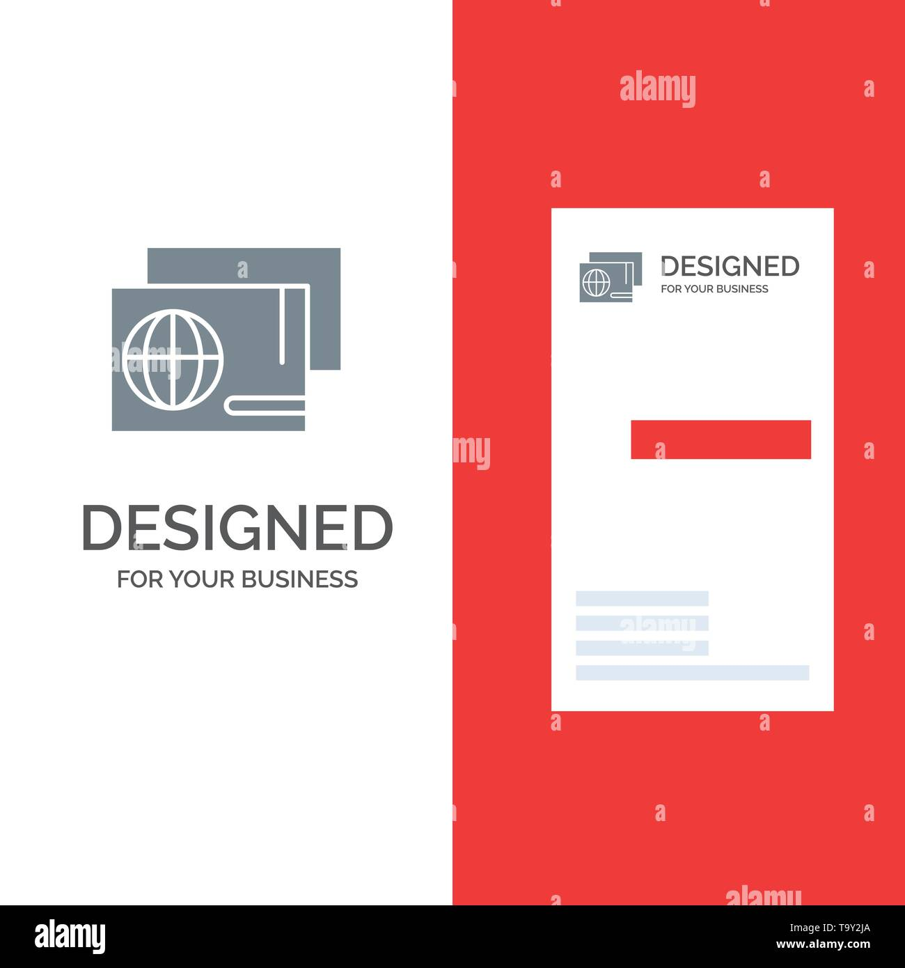 Identity, Pass, Passport, Shopping Grey Logo Design and Business Card Template - Stock Image
