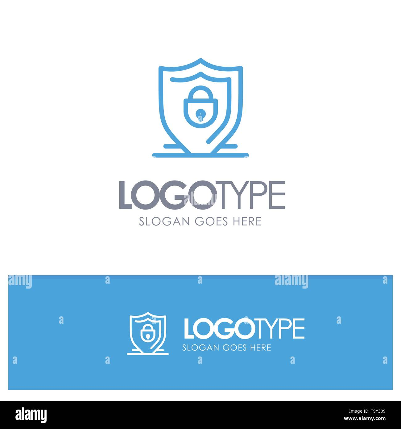 Internet, Shield, Lock, Security Blue outLine Logo with place for tagline - Stock Image