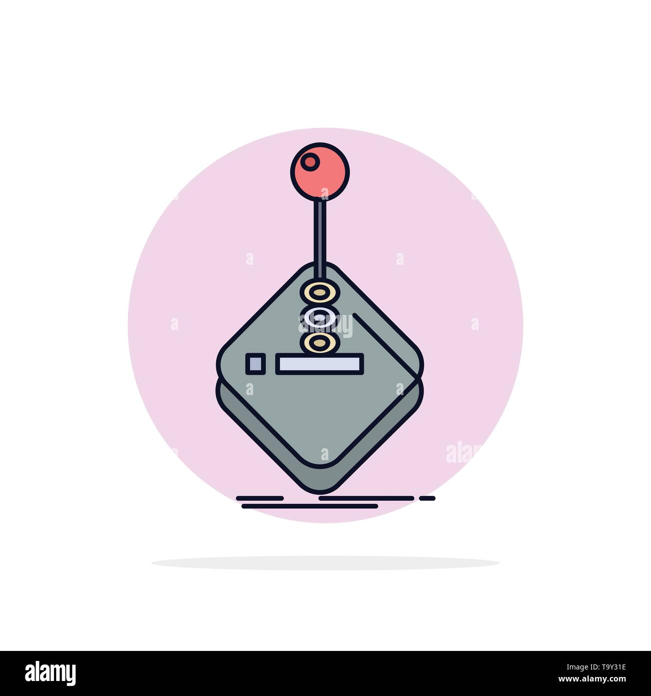 arcade, game, gaming, joystick, stick Flat Color Icon Vector - Stock Image