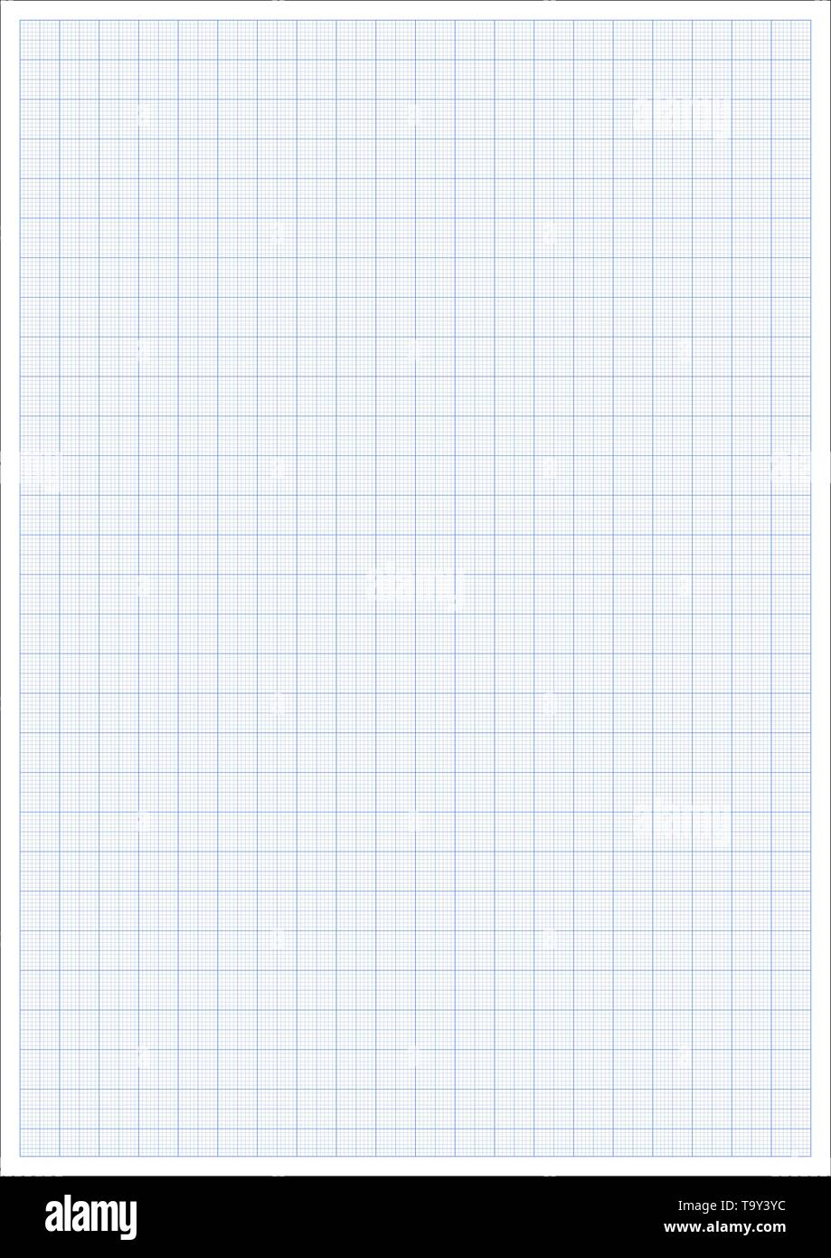 Millimeter paper. Millimeterpapier grid blue ruler. a4 graphic vector sheet - Stock Image