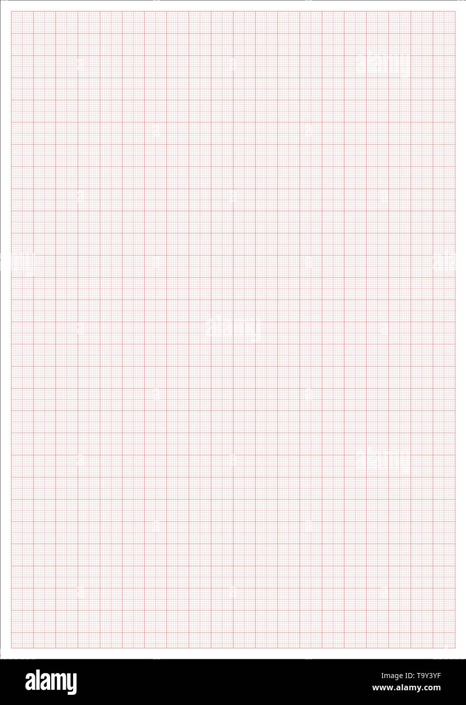 Millimeter paper. Millimeterpapier grid red ruler. a4 graphic vector sheet - Stock Image