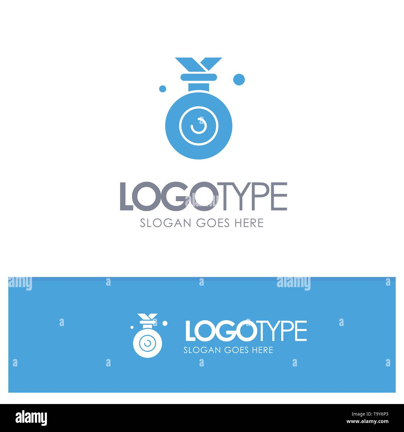 Medal, Olympic, Winner, Won Blue Solid Logo with place for tagline - Stock Vector