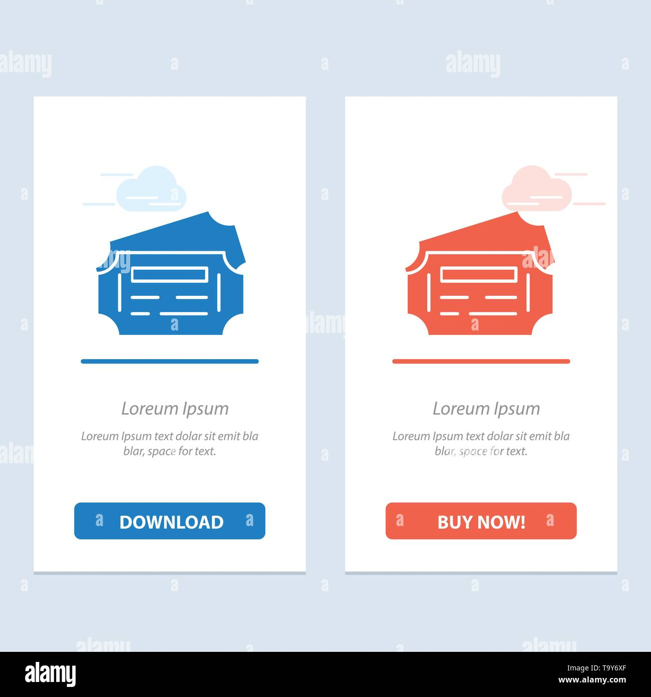 Train, Ticket, Station  Blue and Red Download and Buy Now web Widget Card Template - Stock Image