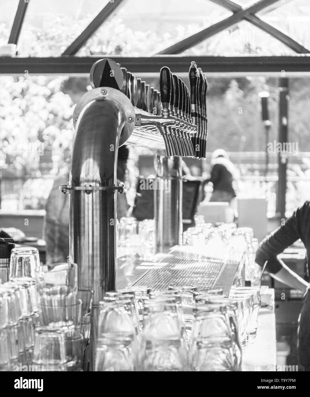 bar counter draft beer during working hours. close up. BW - Stock Image