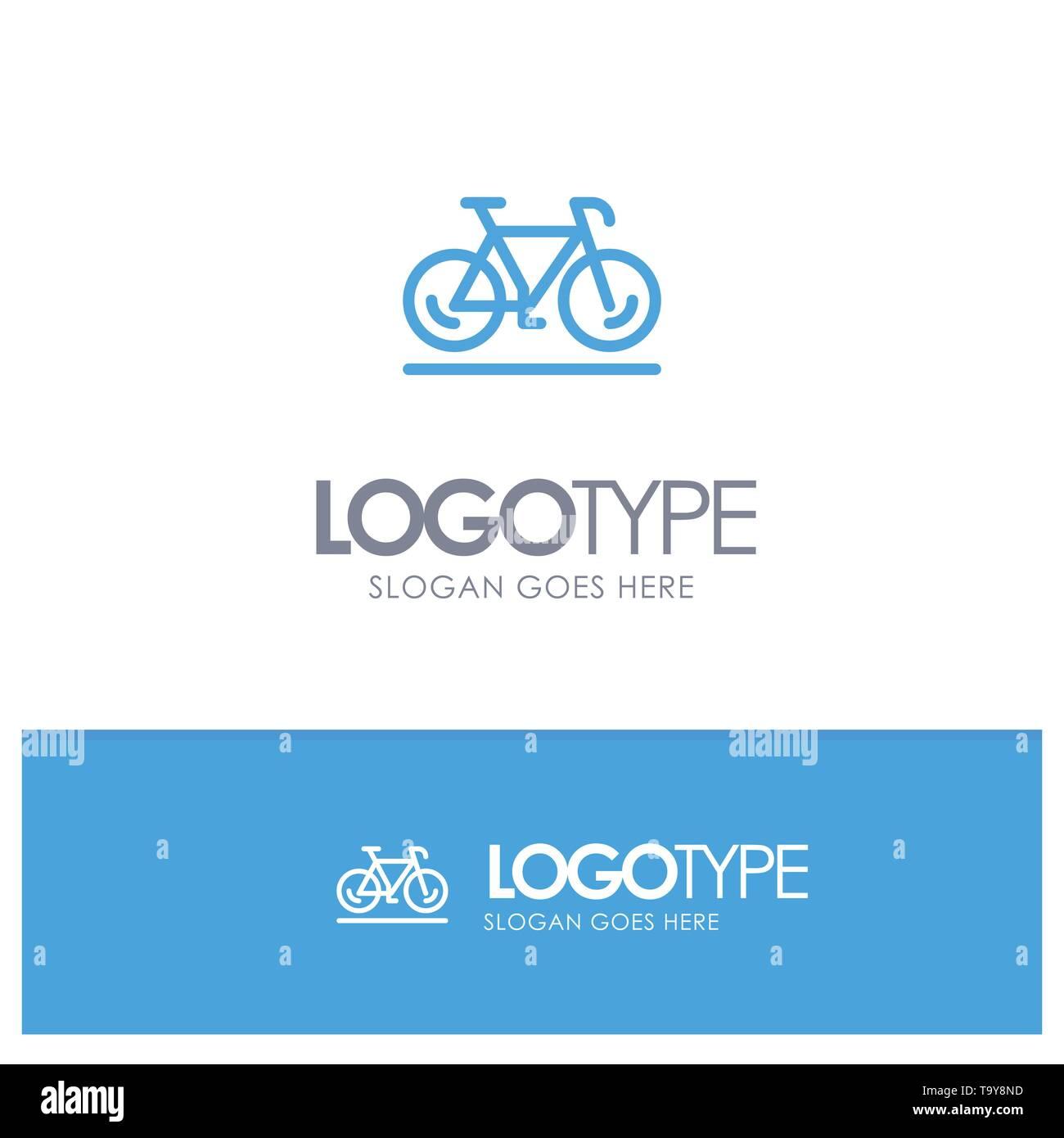 Bicycle, Movement, Walk, Sport Blue Logo Line Style - Stock Image