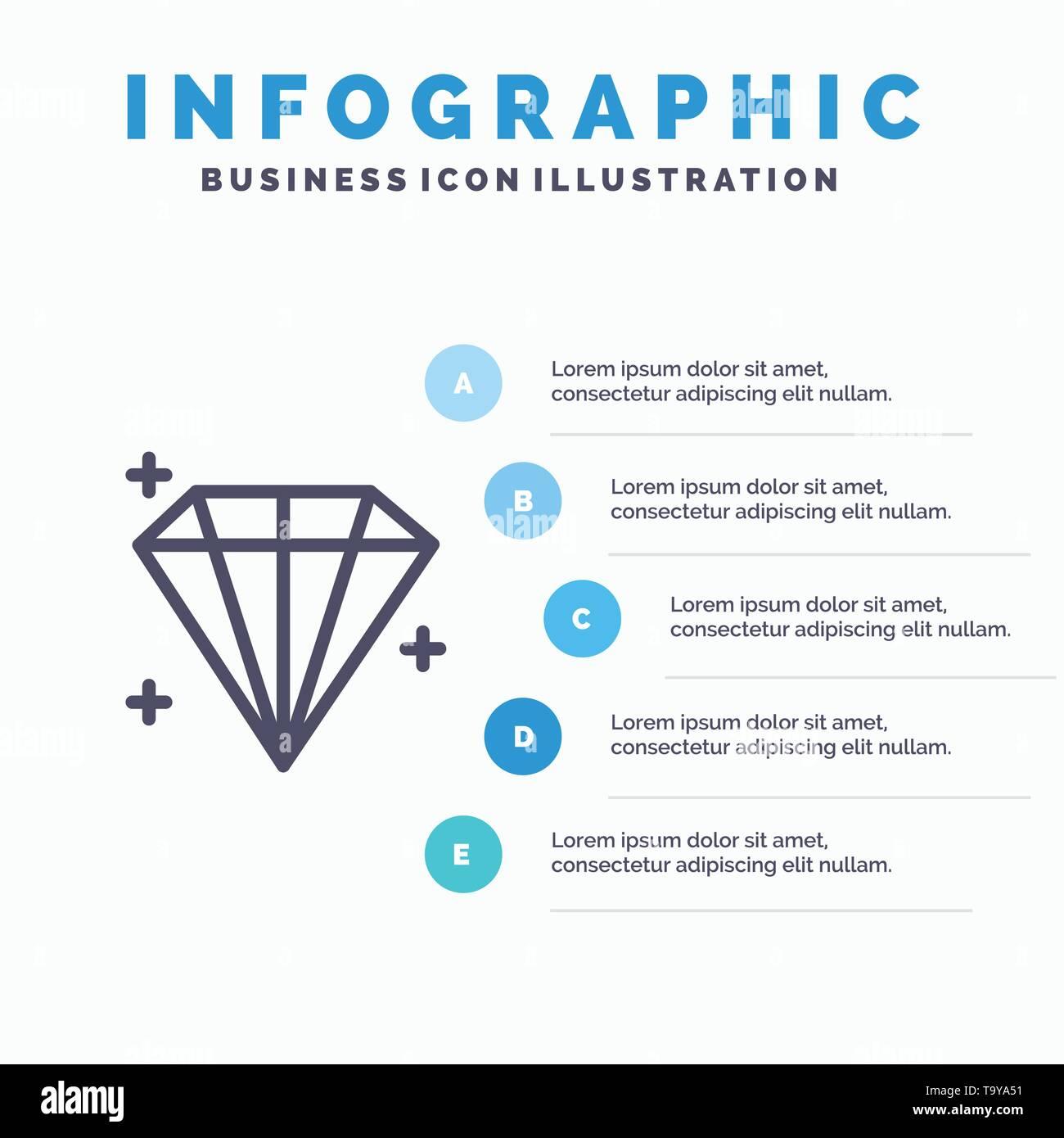 Diamond, Jewel, User Line icon with 5 steps presentation infographics Background - Stock Image