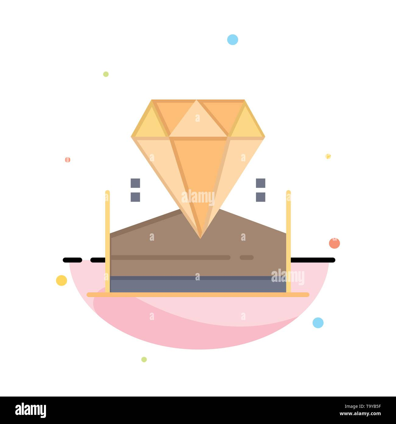 Brilliant, Diamond, Jewel, Hotel Abstract Flat Color Icon Template - Stock Image