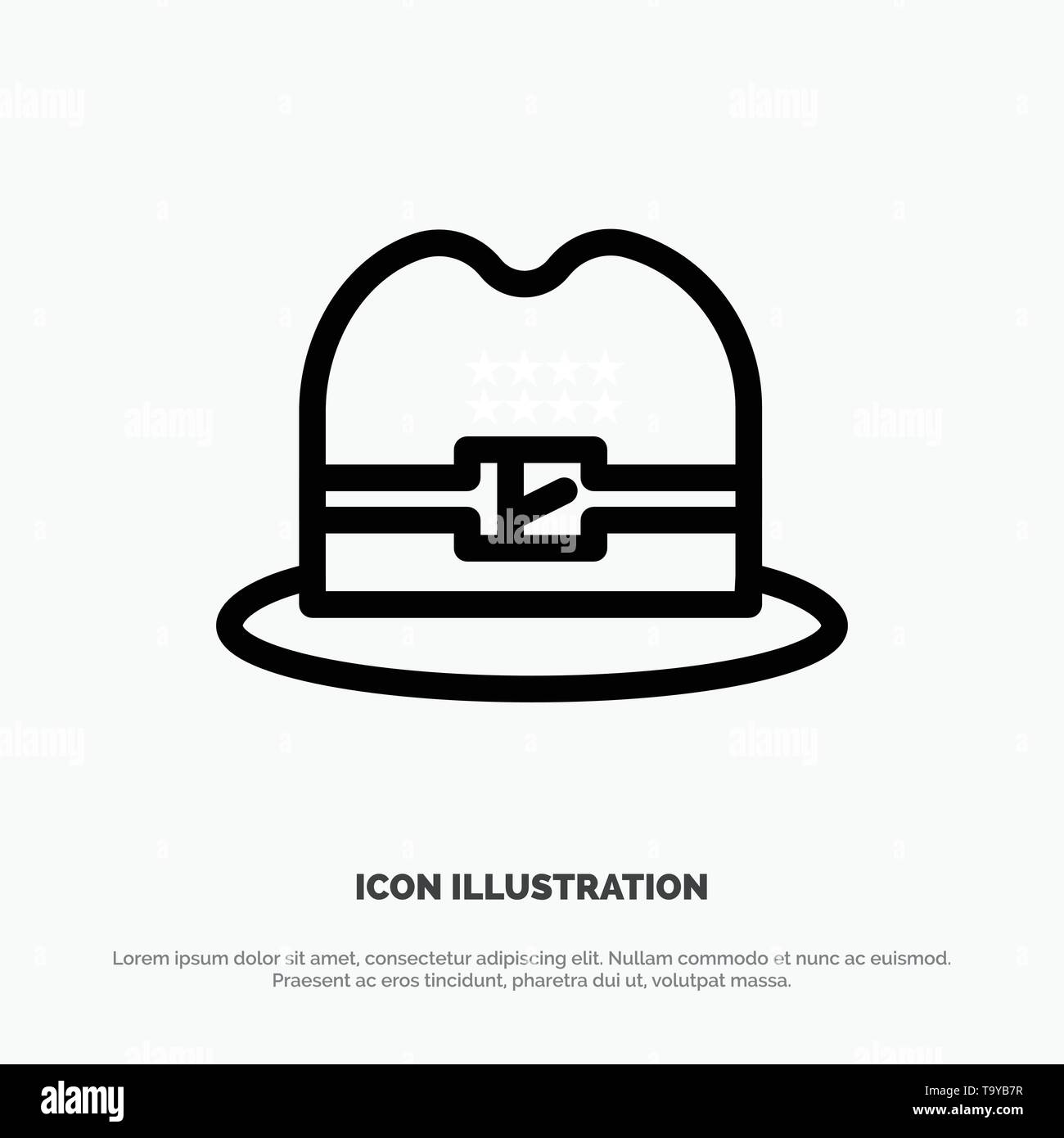 Hat, Cap, American Line Icon Vector - Stock Image