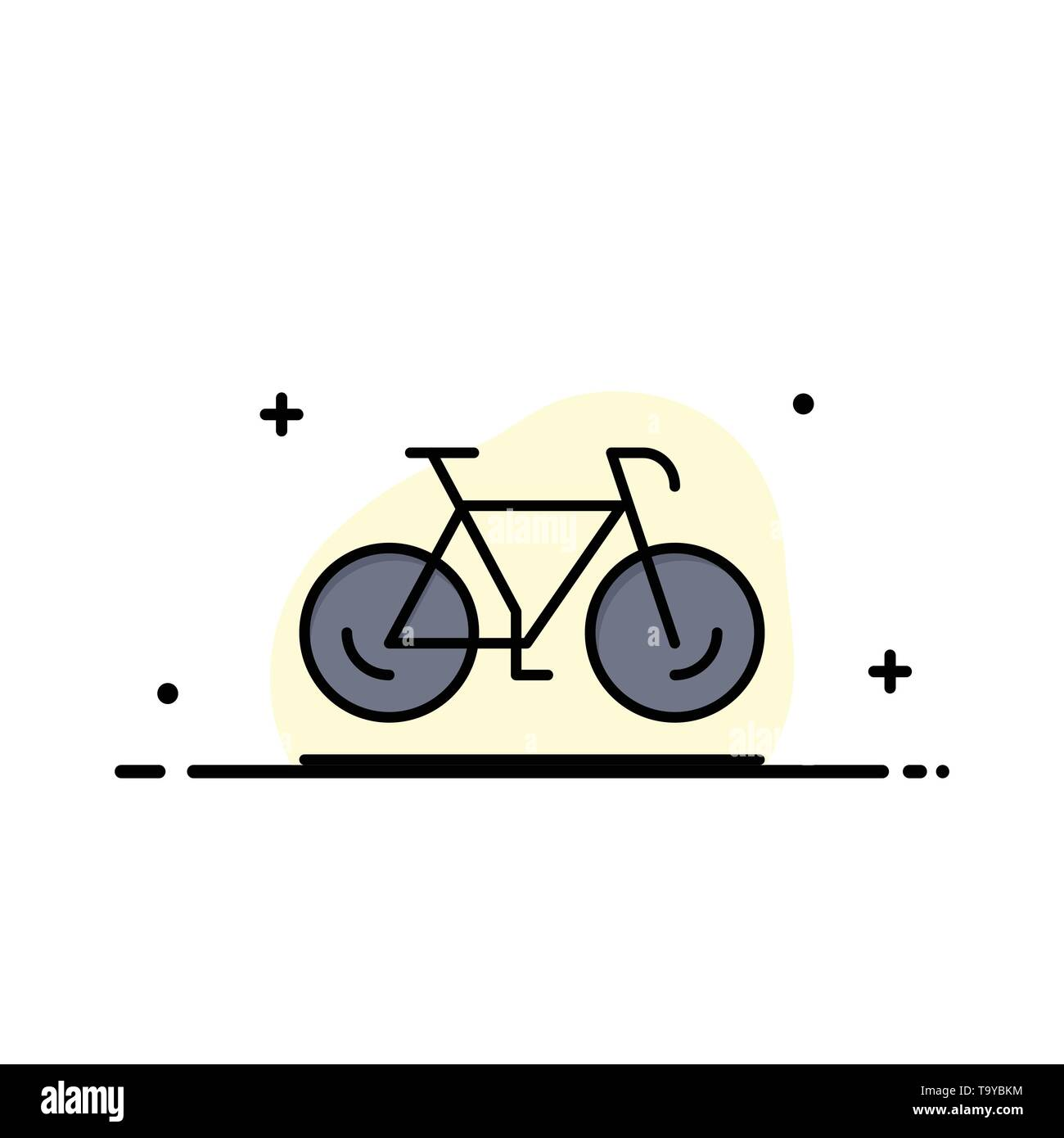 Bicycle, Movement, Walk, Sport  Business Flat Line Filled Icon Vector Banner Template - Stock Image