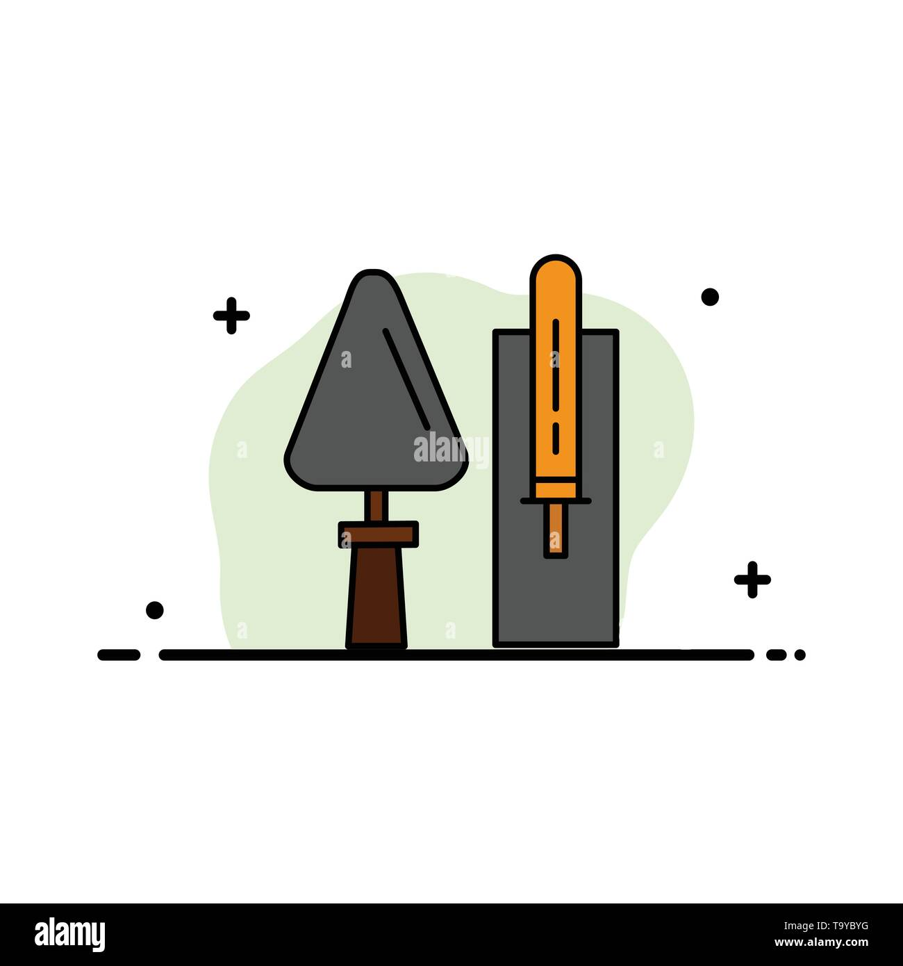 Trowel, Brickwork, Construction, Masonry, Tool  Business Flat Line Filled Icon Vector Banner Template - Stock Image
