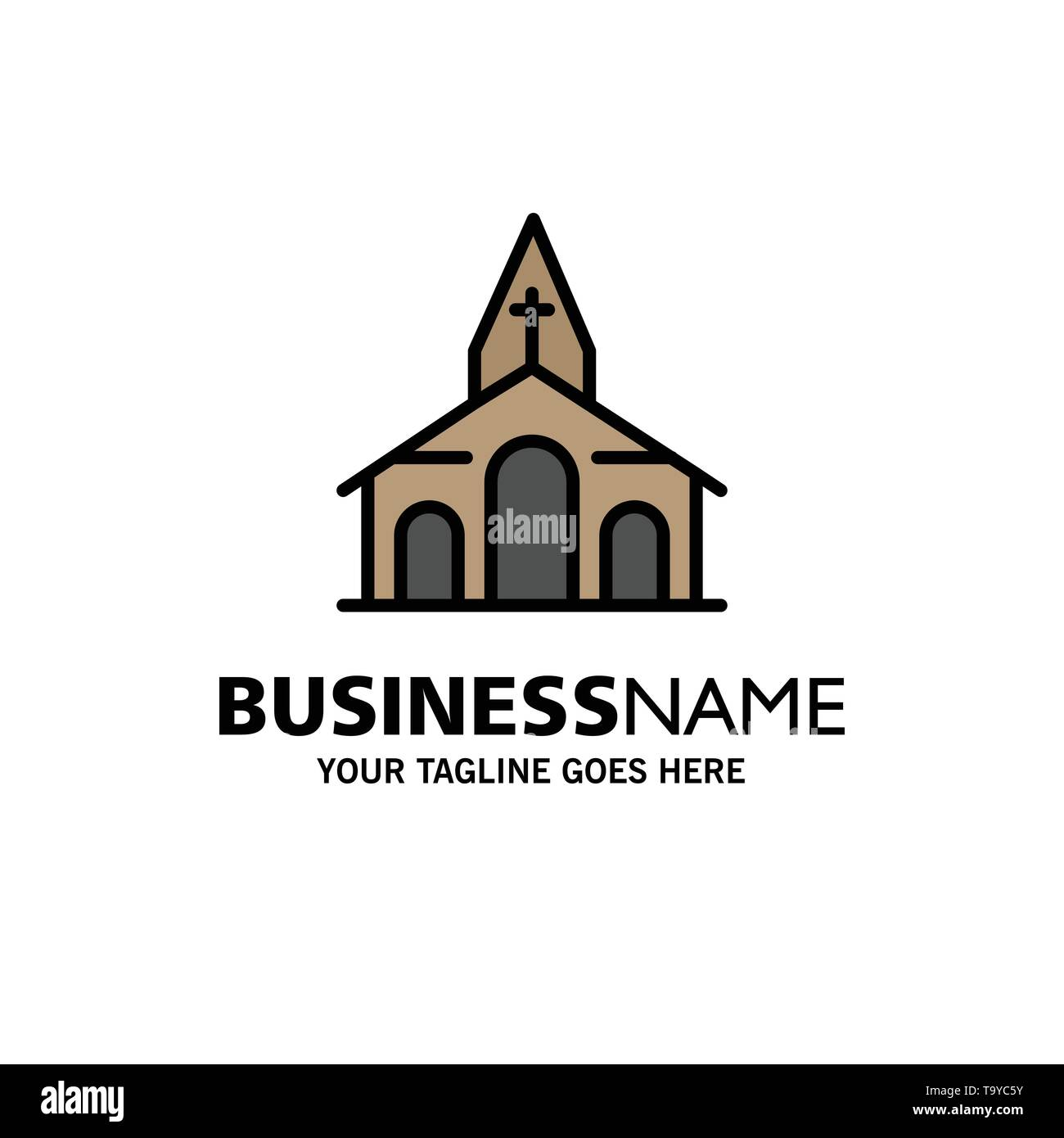 Building, Christmas, Church, Spring Business Logo Template. Flat Color - Stock Image