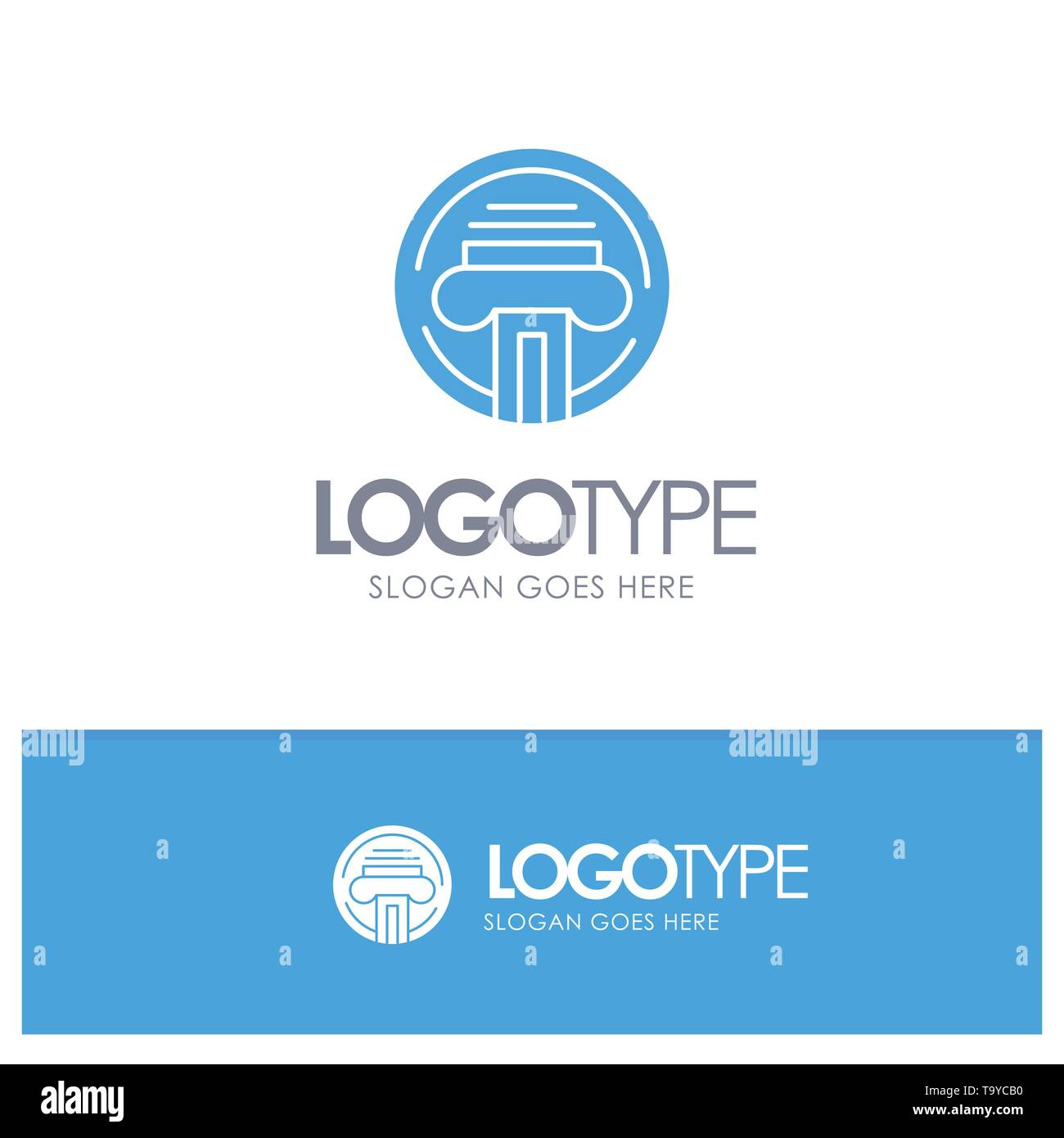 Printer, Type, Typewriter, Writer Blue Solid Logo with place for tagline Stock Vector