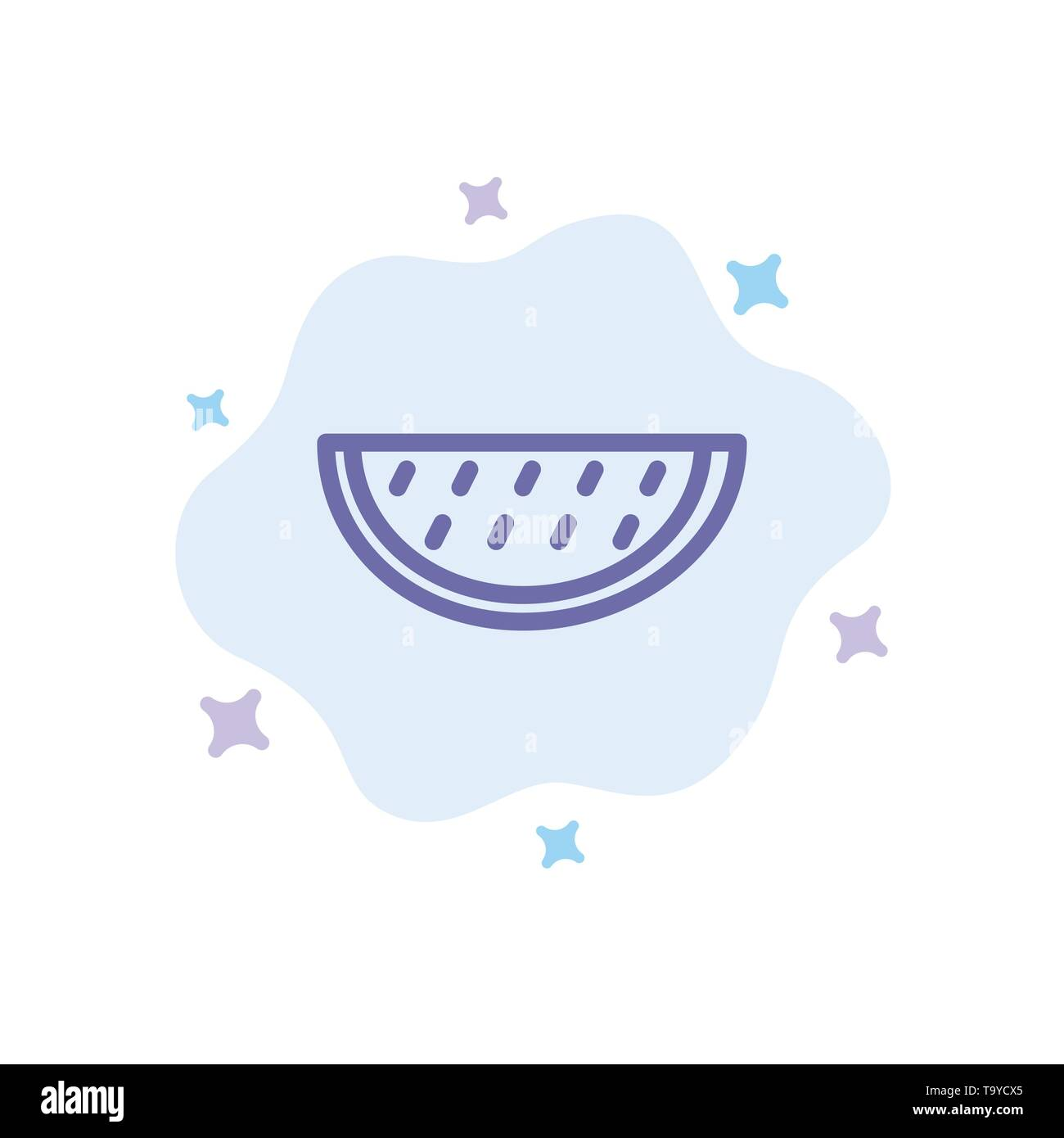 Fruits, Melon, Summer, Water Blue Icon on Abstract Cloud Background - Stock Image
