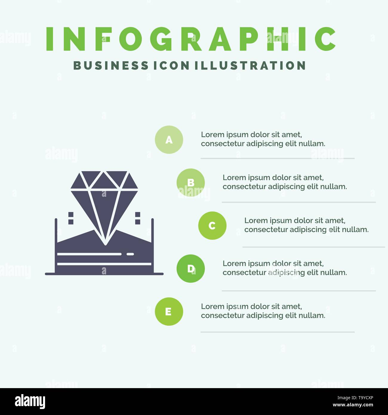 Brilliant, Diamond, Jewel, Hotel Infographics Presentation Template. 5 Steps Presentation - Stock Image
