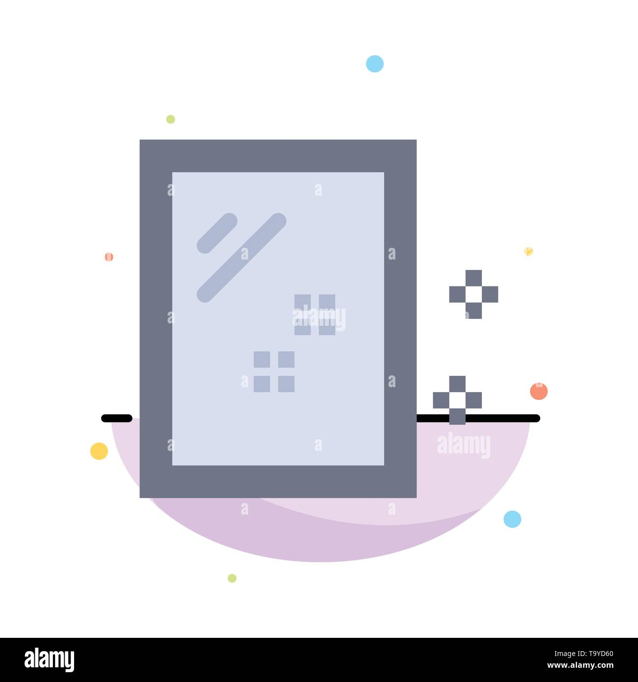 Door, Mirror, Cleaning, Wash Abstract Flat Color Icon Template - Stock Image