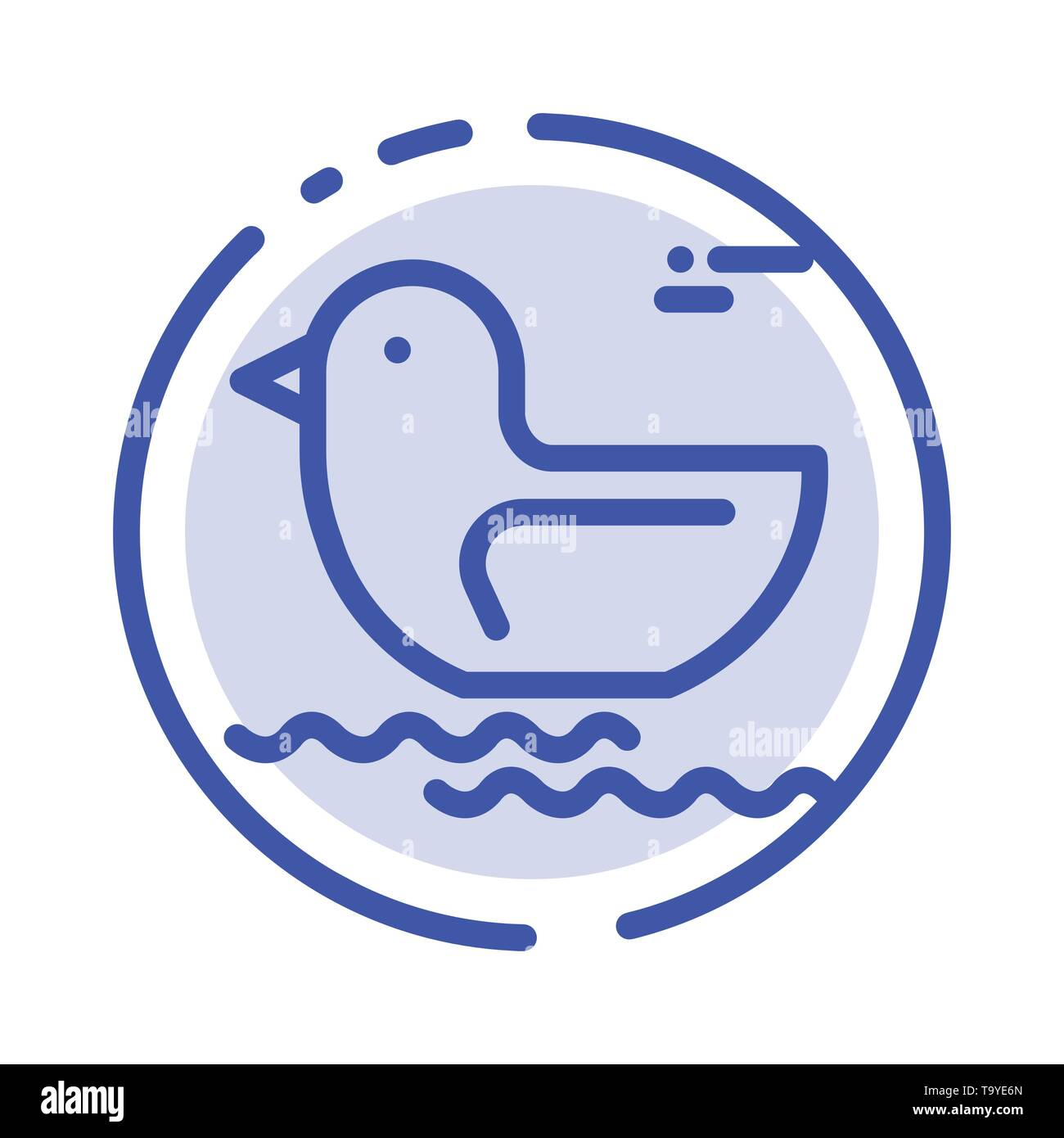 Duck, River, Canada Blue Dotted Line Line Icon - Stock Image