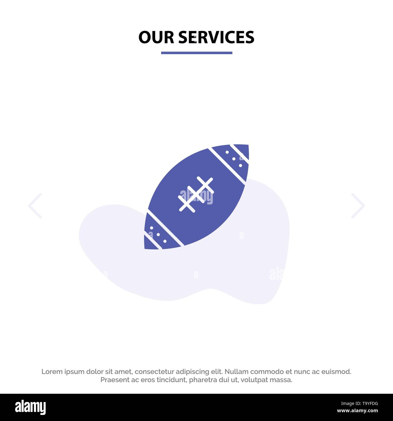 Our Services American, Ball, Football, Nfl, Rugby Solid Glyph Icon Web card Template - Stock Image