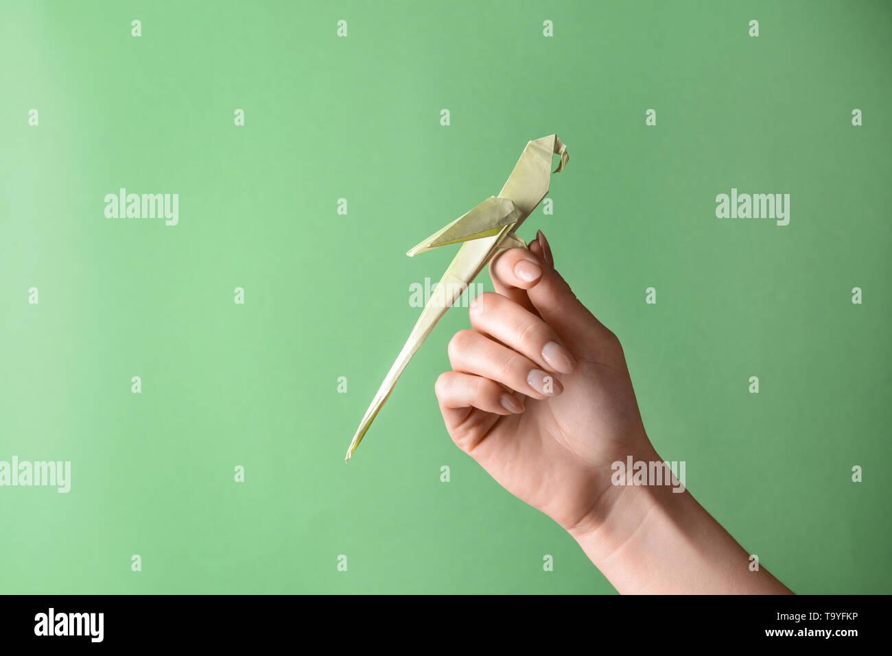KF_4860] Origami Parrot Diagram   957x1300