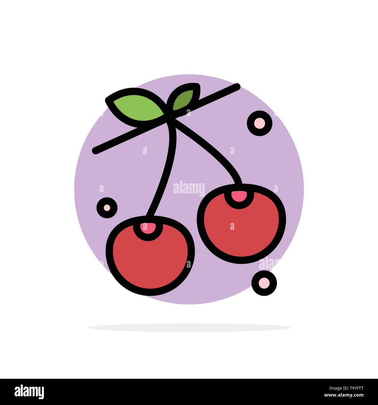 Berry, Cherry, Food, Spring Abstract Circle Background Flat color Icon - Stock Image
