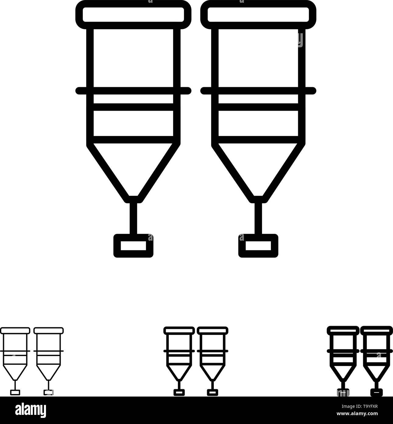Blood, Healthcare, Medical, Syringe, Transfusion Bold and thin black line icon set - Stock Image