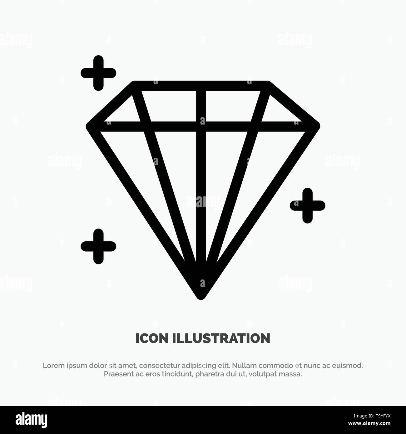 Diamond, Jewel, User Line Icon Vector - Stock Image