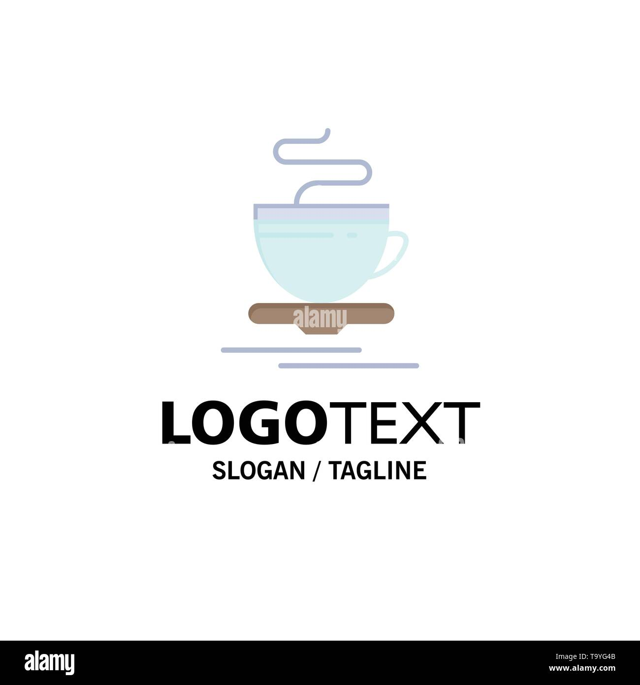 Tea, Cup, Hot, Hotel Business Logo Template. Flat Color - Stock Image