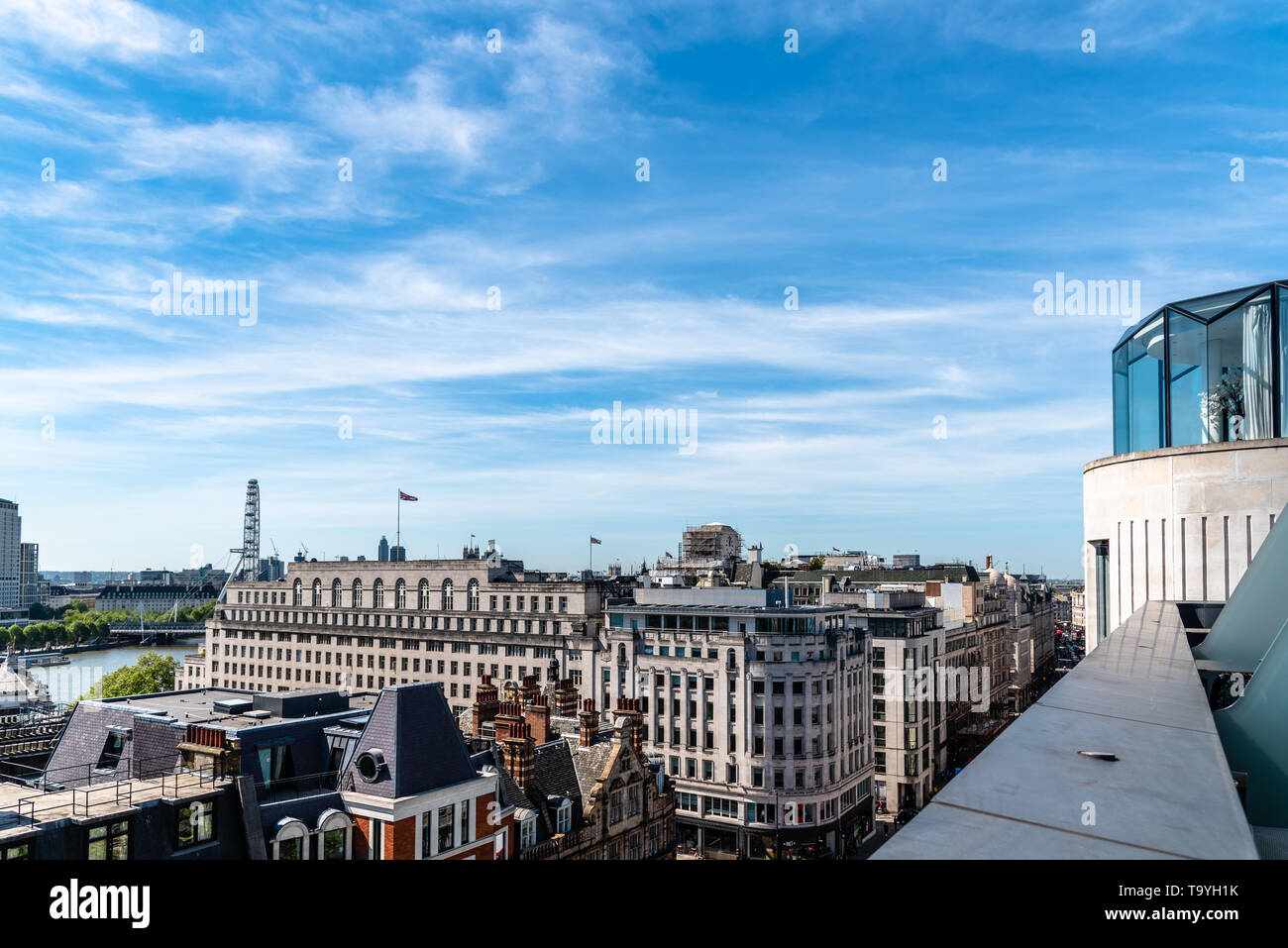 London, UK - May 14, 2019: Cityscape of the City of London. High angle view from penthouse a sunny day Stock Photo