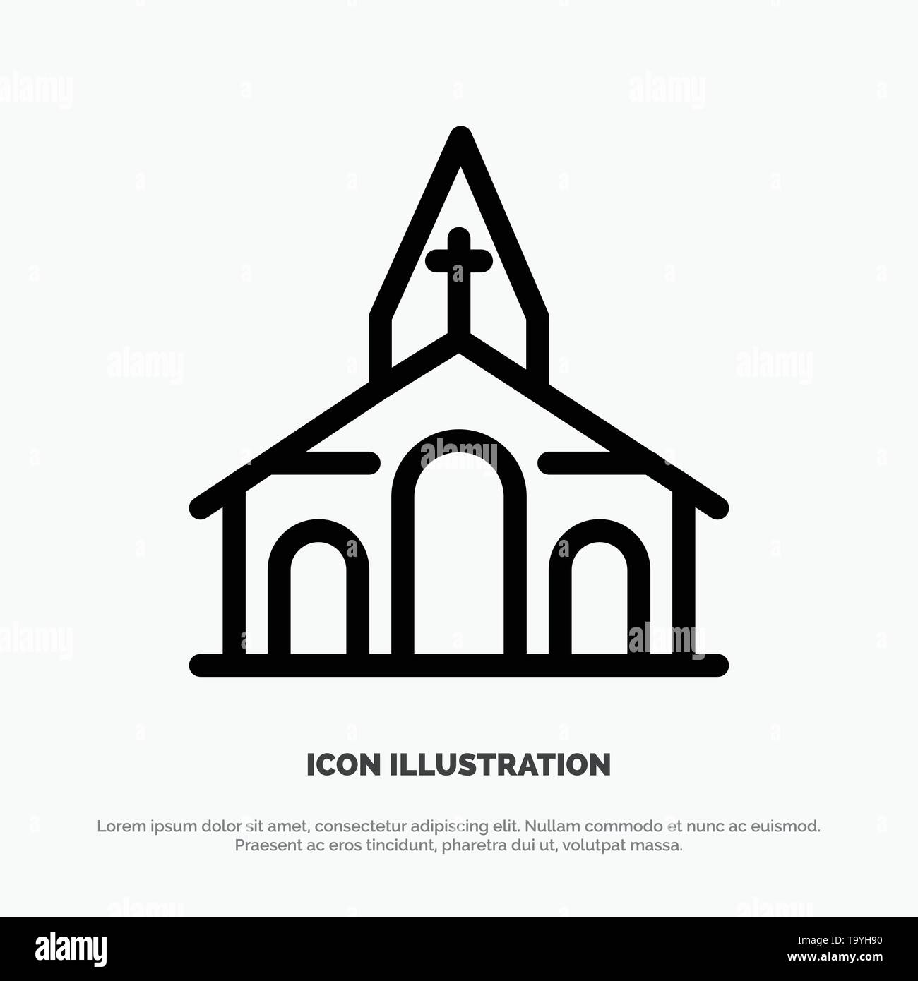 Building, Christmas, Church, Spring Line Icon Vector - Stock Image