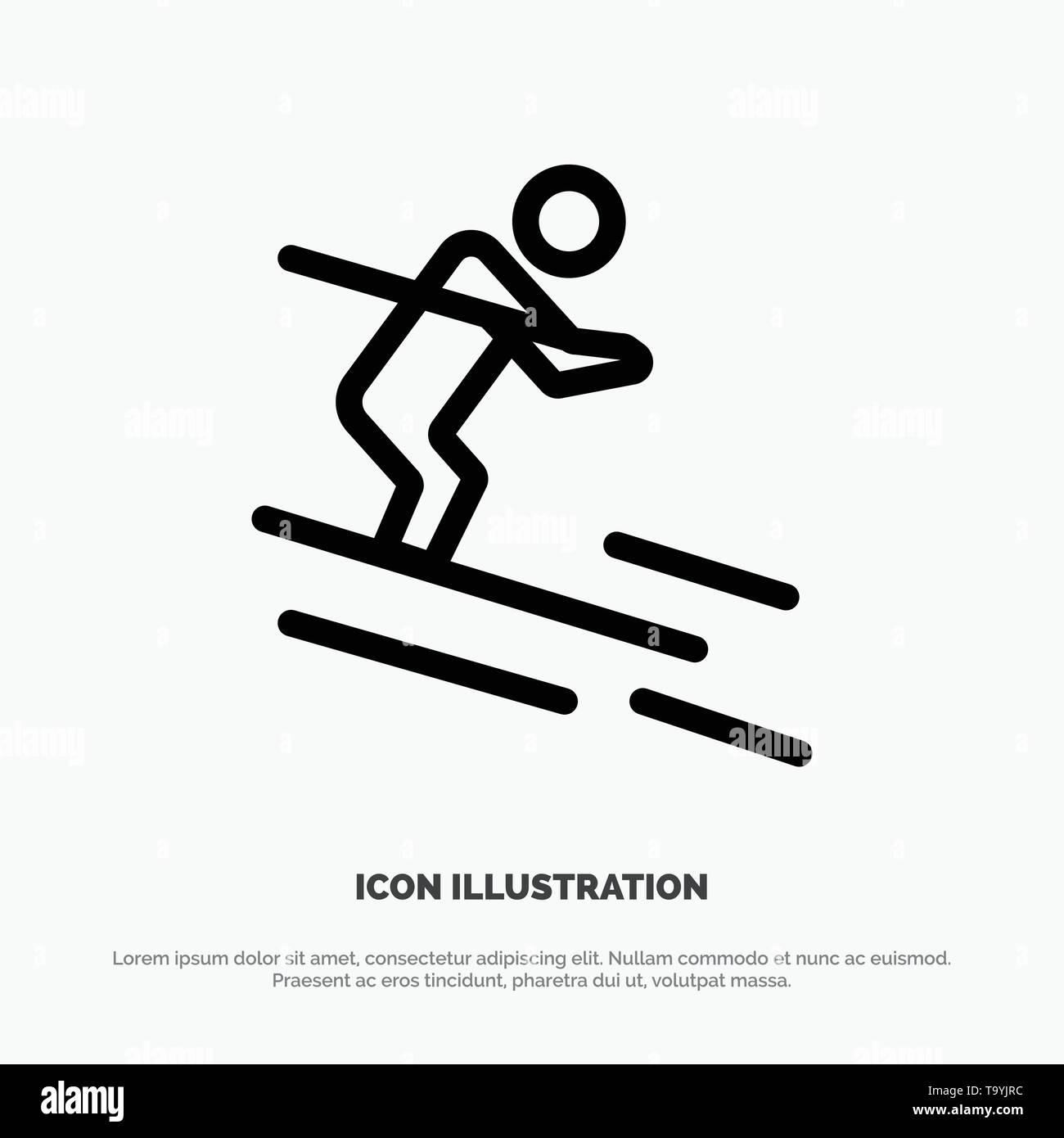 Activity, Ski, Skiing, Sportsman Line Icon Vector - Stock Image