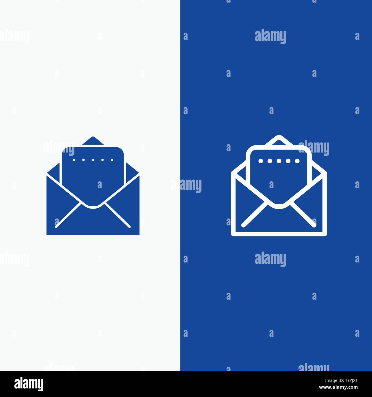 Document, Mail Line and Glyph Solid icon Blue banner Line and Glyph Solid icon Blue banner - Stock Image