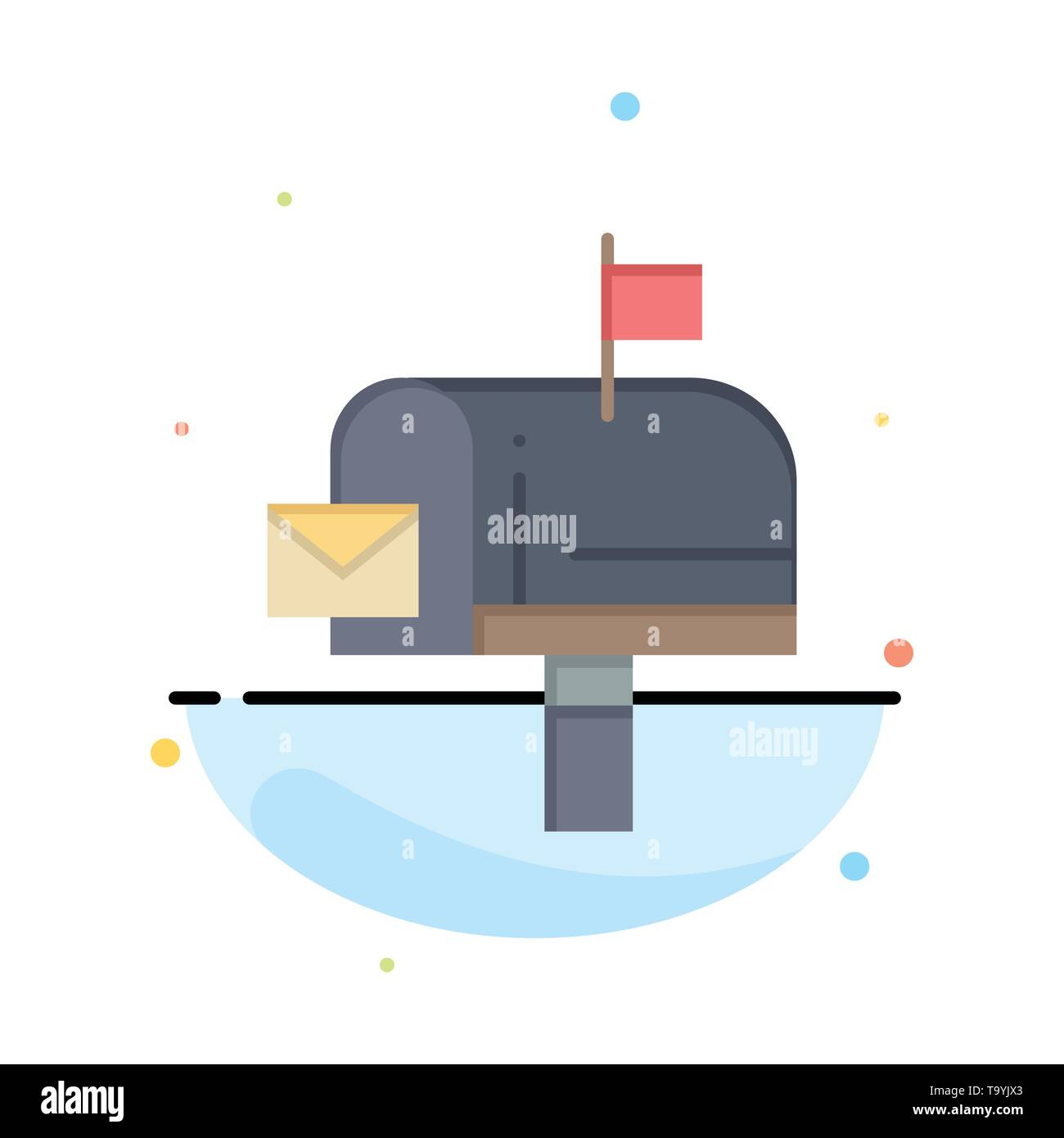 Mail, Box, Message, Email Abstract Flat Color Icon Template - Stock Image
