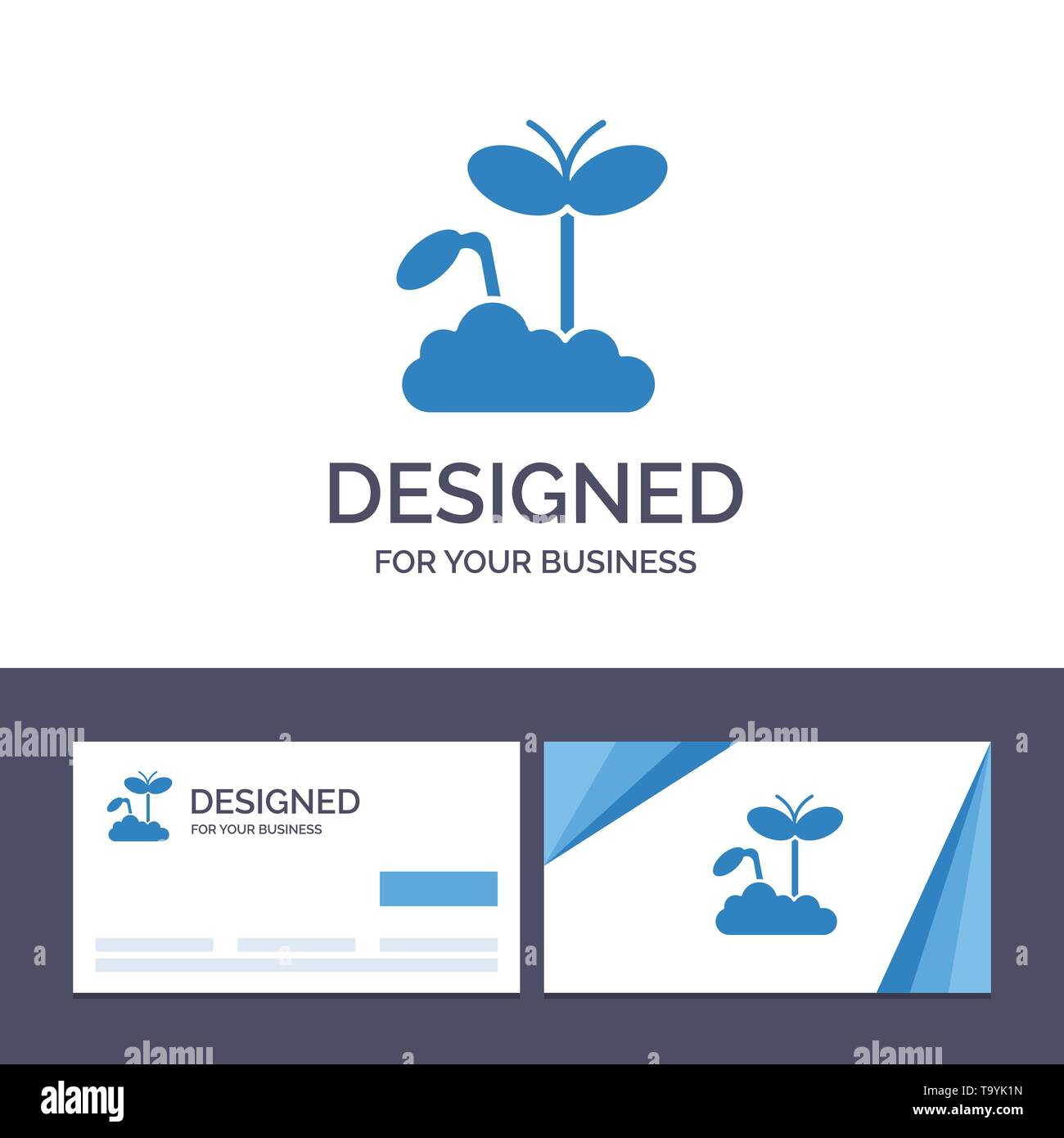 Creative Business Card and Logo template Growth, Increase, Maturity, Plant Vector Illustration - Stock Image