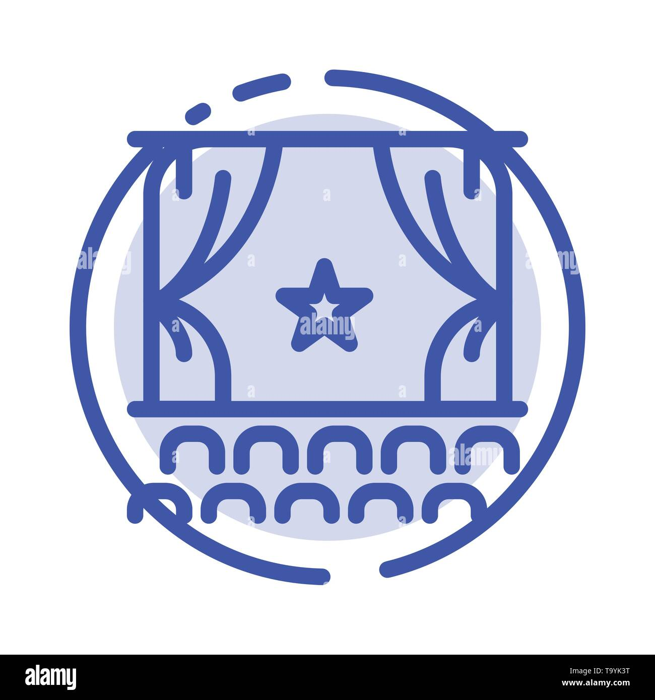 Cinema, Debut, Film, Performance, Premiere Blue Dotted Line Line Icon - Stock Image