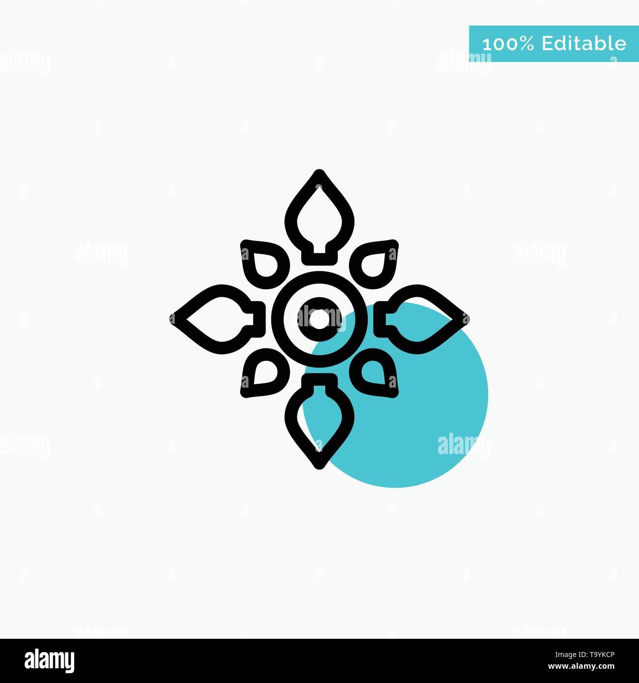 Celebrate, Decorate, Decoration, Diwali, Hindu, Holi turquoise highlight circle point Vector icon - Stock Image
