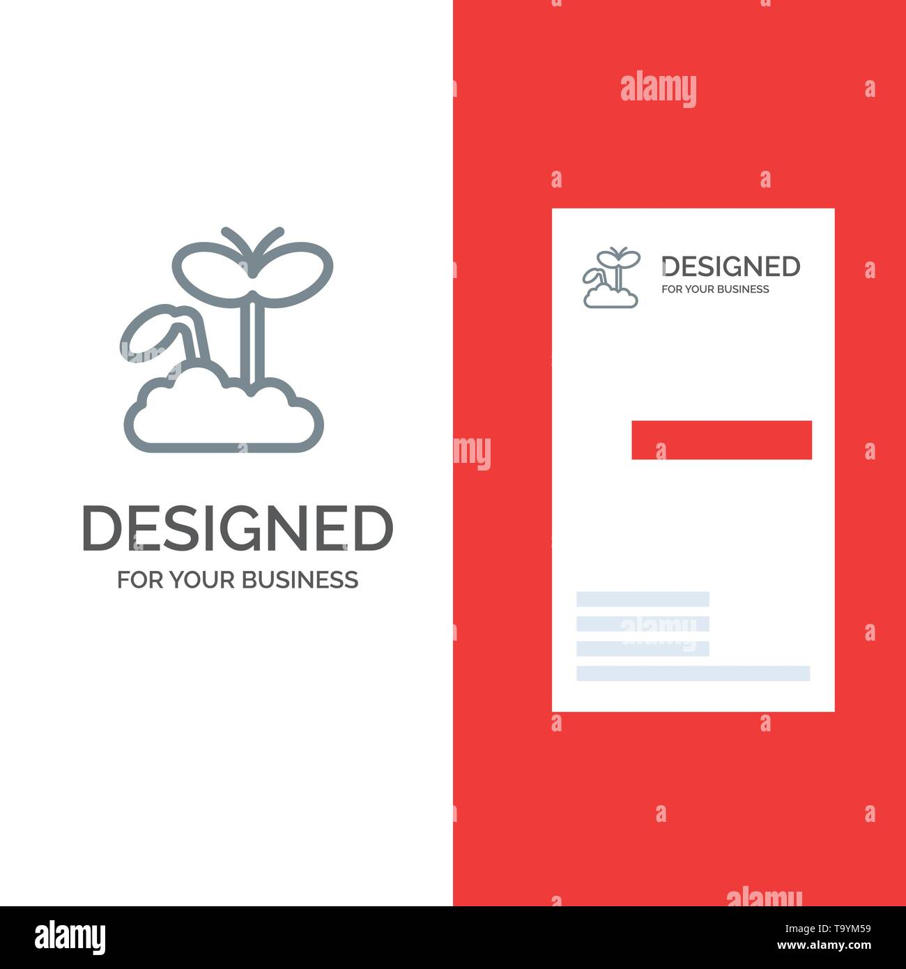 Growth, Increase, Maturity, Plant Grey Logo Design and Business Card Template - Stock Image