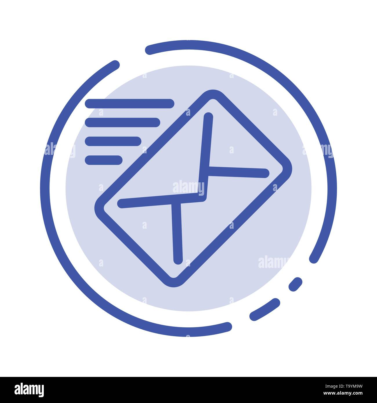Email, Mail, Message, Sent Blue Dotted Line Line Icon - Stock Image