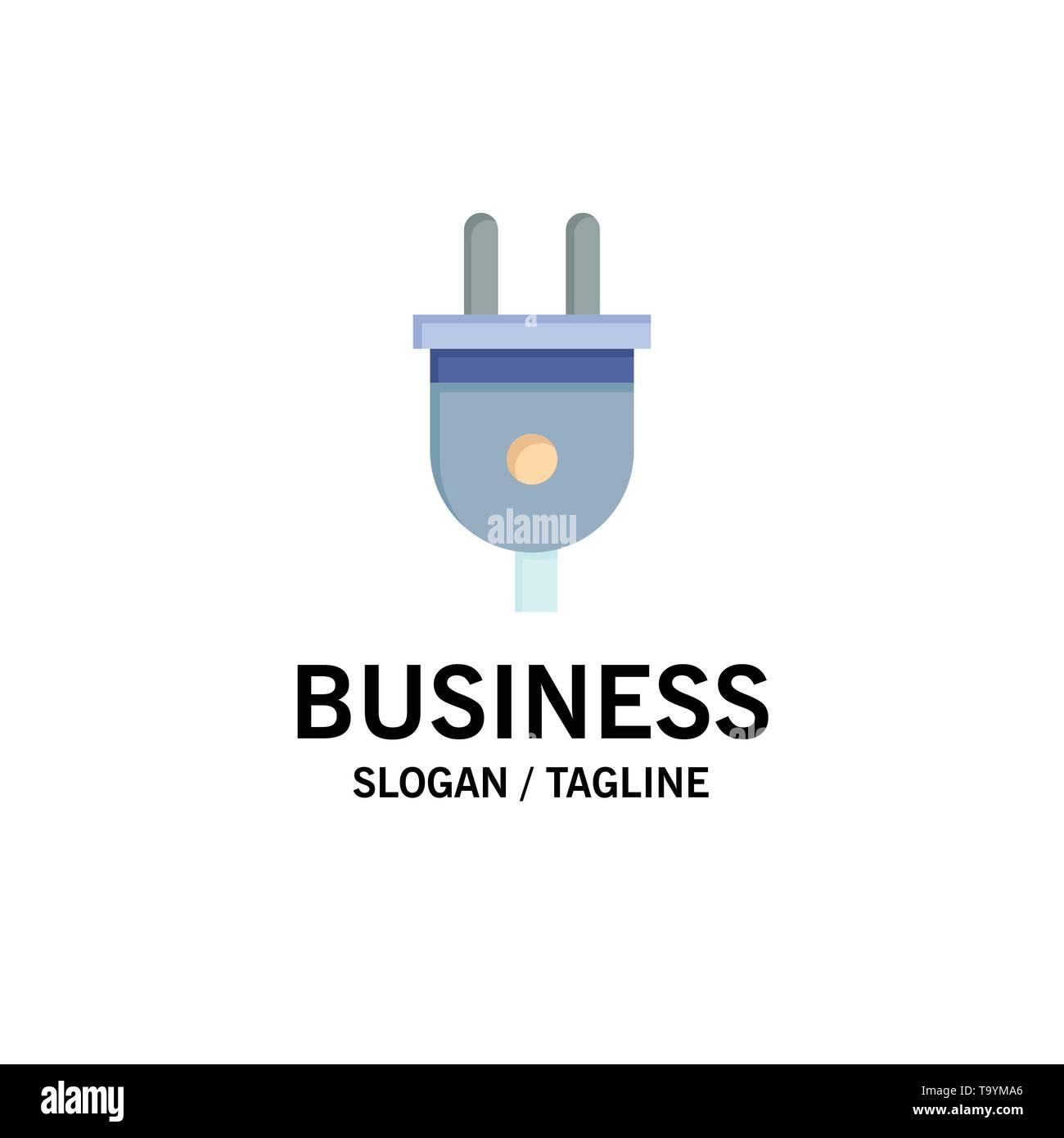 Electric, Plug, Power, Power Plug Business Logo Template. Flat Color - Stock Image